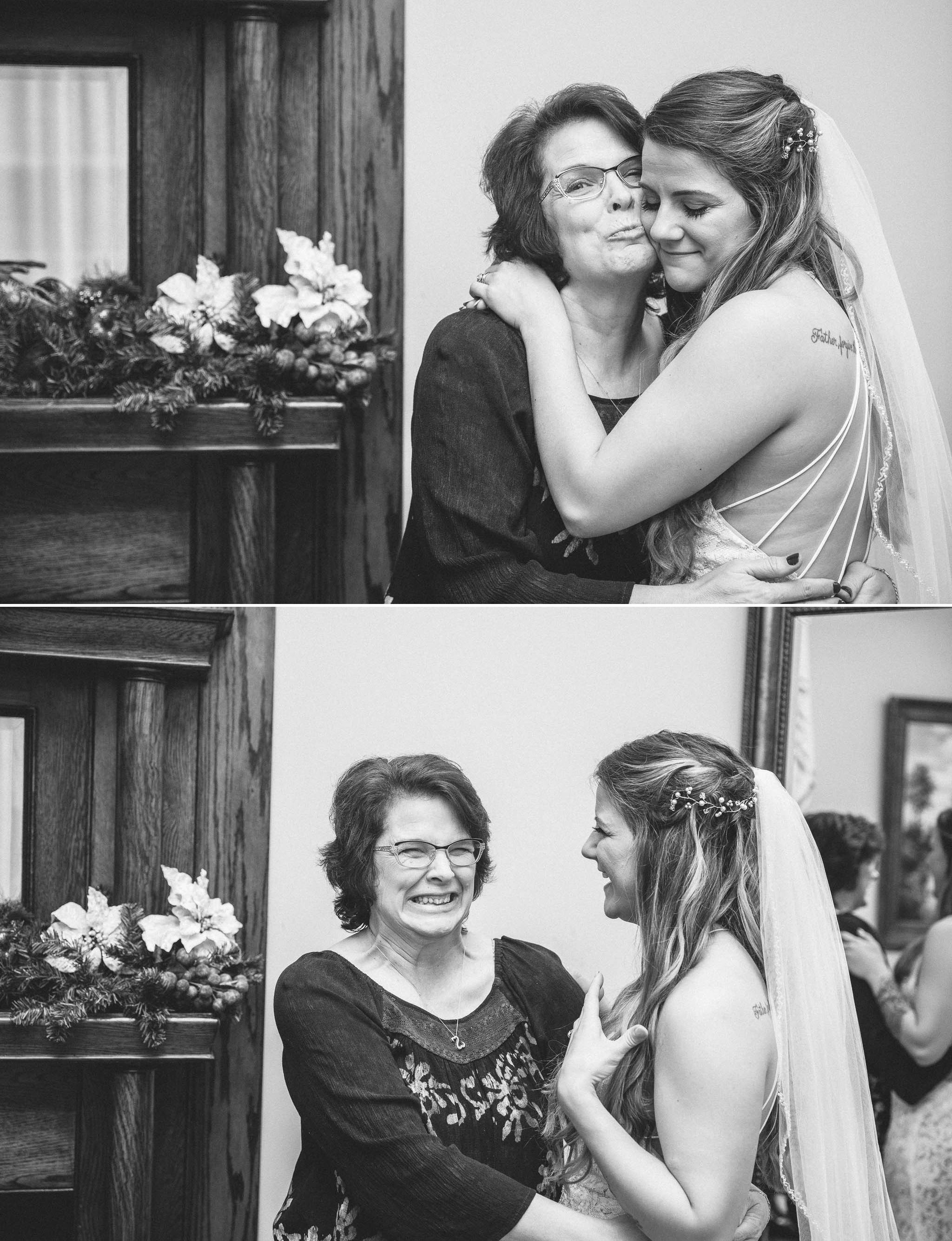 Bride and her mother before the wedding - Jessica + Brandon - Snowy Winter Wedding at the Rand Bryan House in Garner, NC - Raleigh North Carolina Wedding Photographer