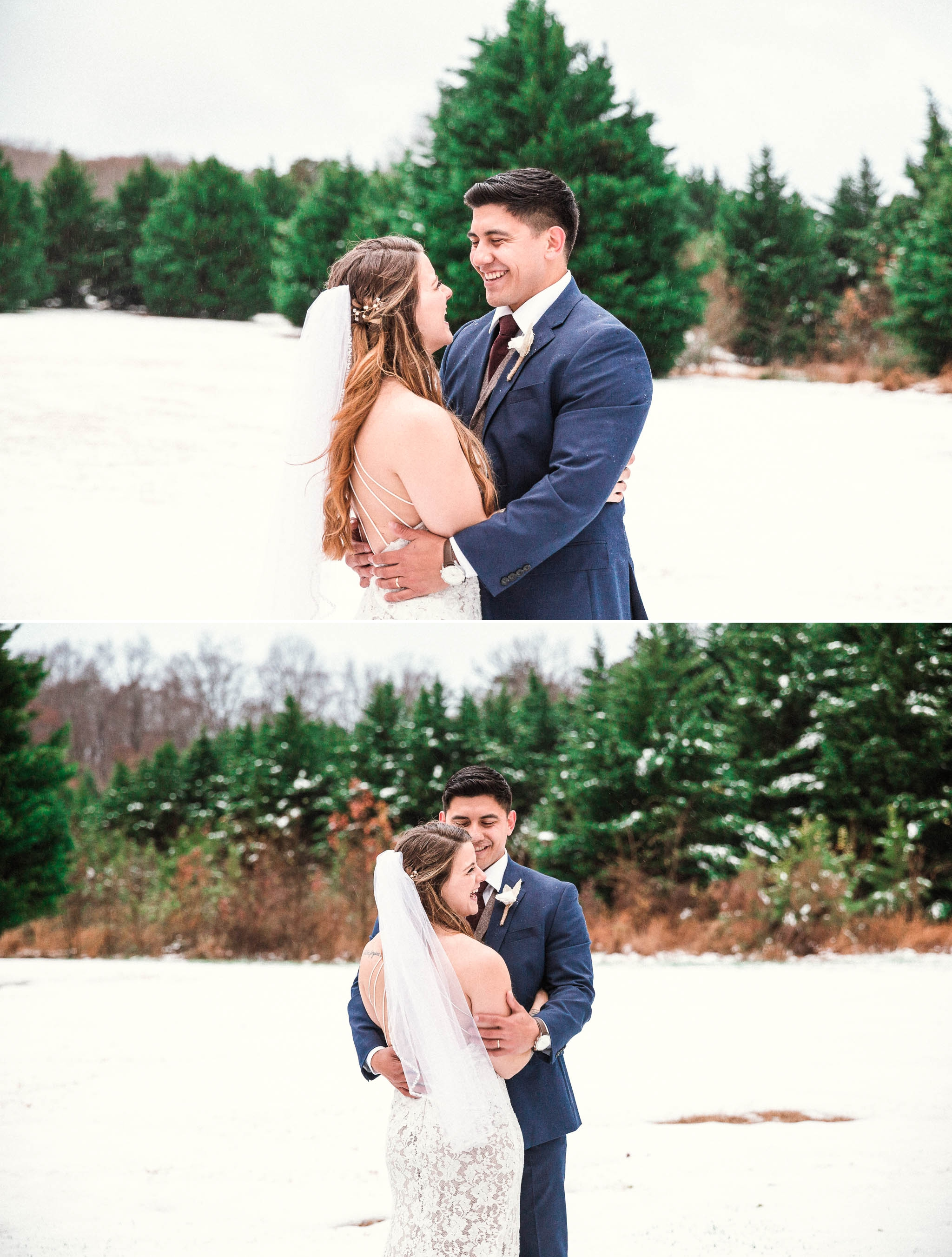 Portraits between bride and groom in the snow - Jessica + Brandon - Snowy Winter Wedding at the Rand Bryan House in Garner, NC - Raleigh North Carolina Wedding Photographer