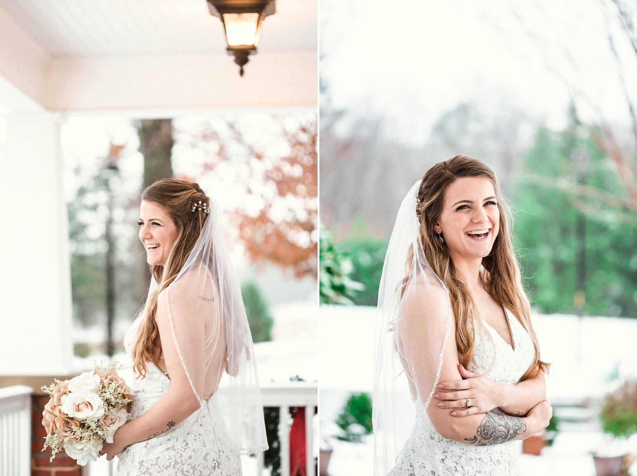 Bridal Portraits in the snow - Jessica + Brandon - Snowy Winter Wedding at the Rand Bryan House in Garner, NC - Raleigh North Carolina Wedding Photographer
