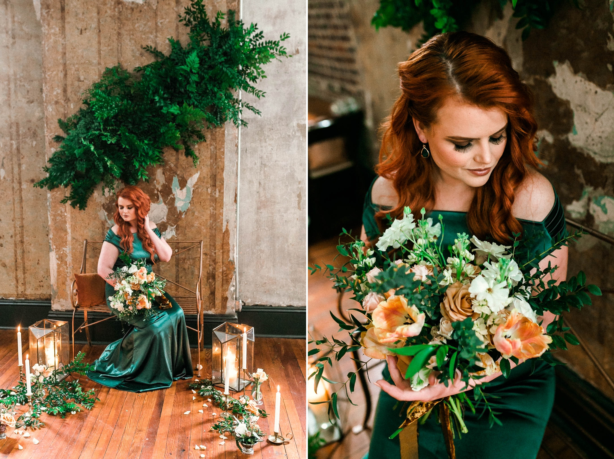 Ginger Red head Bride in an unique emerald wedding dress in front of a flower and candle display - Emerald Wedding Inspiration - Oahu Hawaii Wedding Photographer - Johanna Dye Photography