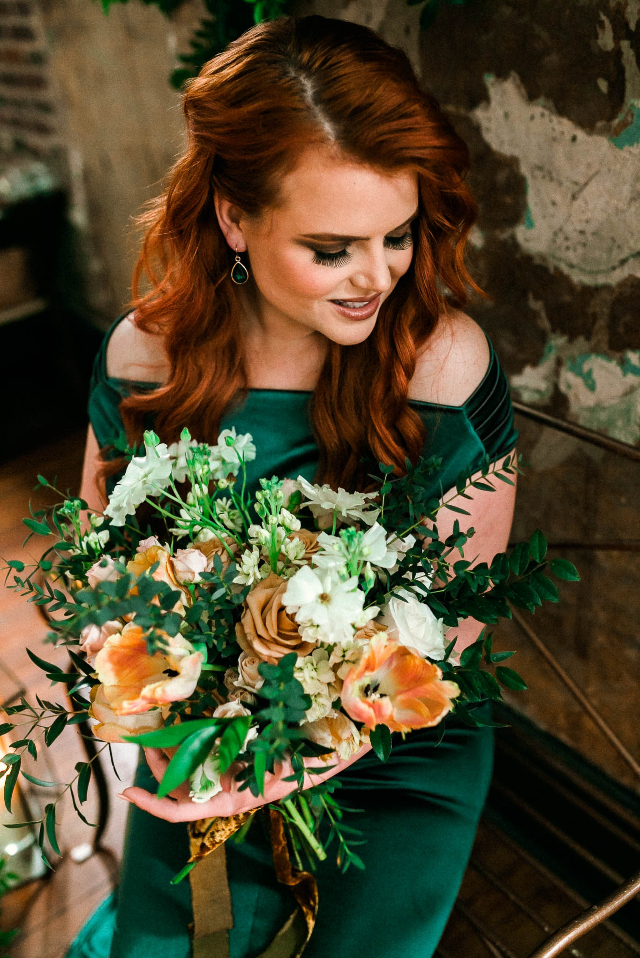 Close up Portrait of a Red Headed Bride in an Unusual Emerald Wedding Dress holding a gorgeous bouquet -  Green Wedding Inspiration - Oahu Hawaii Wedding Photographer - Johanna Dye Photography