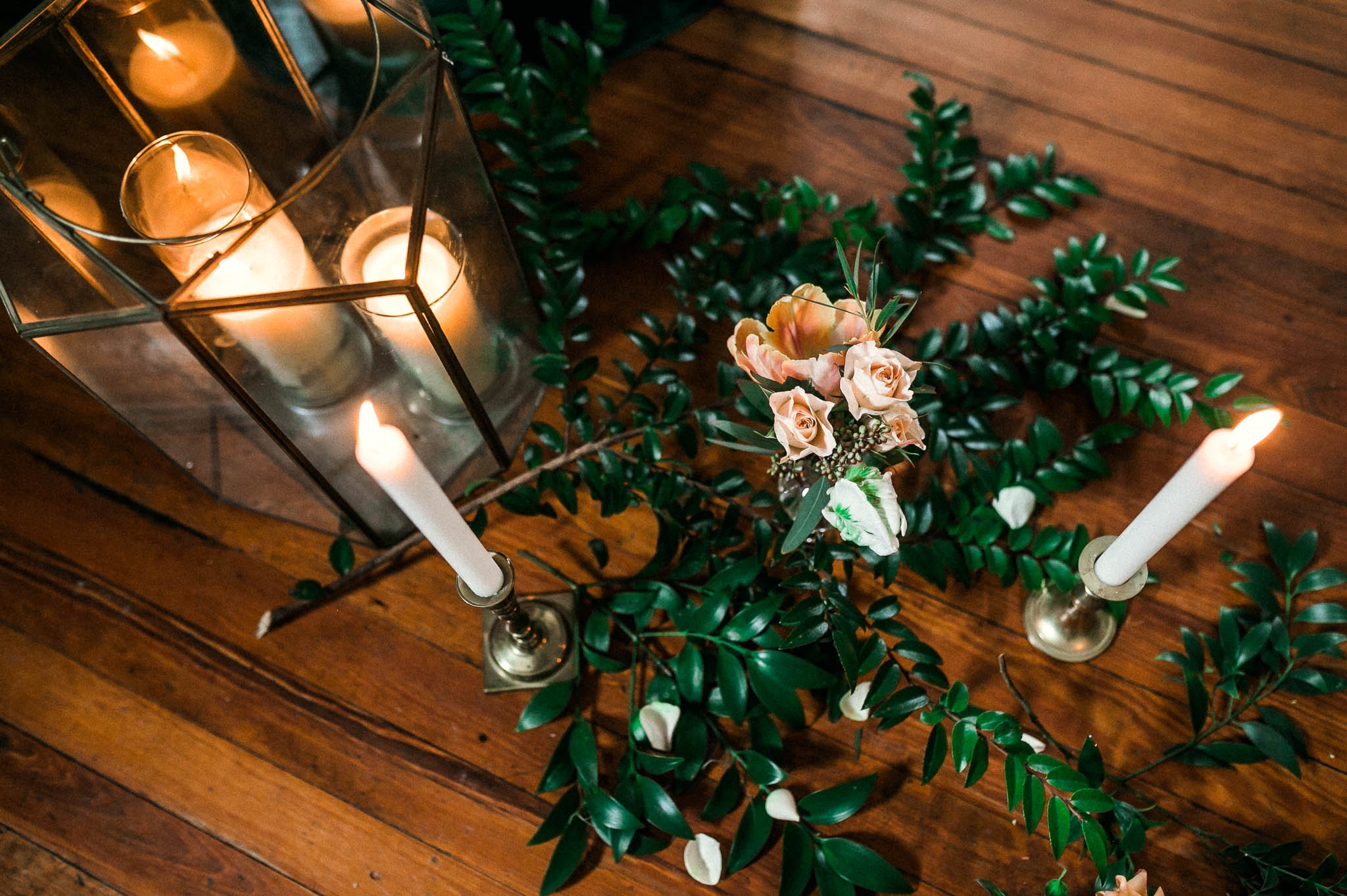 Detail shot of the flower display and candles decorations for the styled shoot - Emerald City Green Wedding Inspiration - Oahu Hawaii Wedding Photographer - Johanna Dye Photography