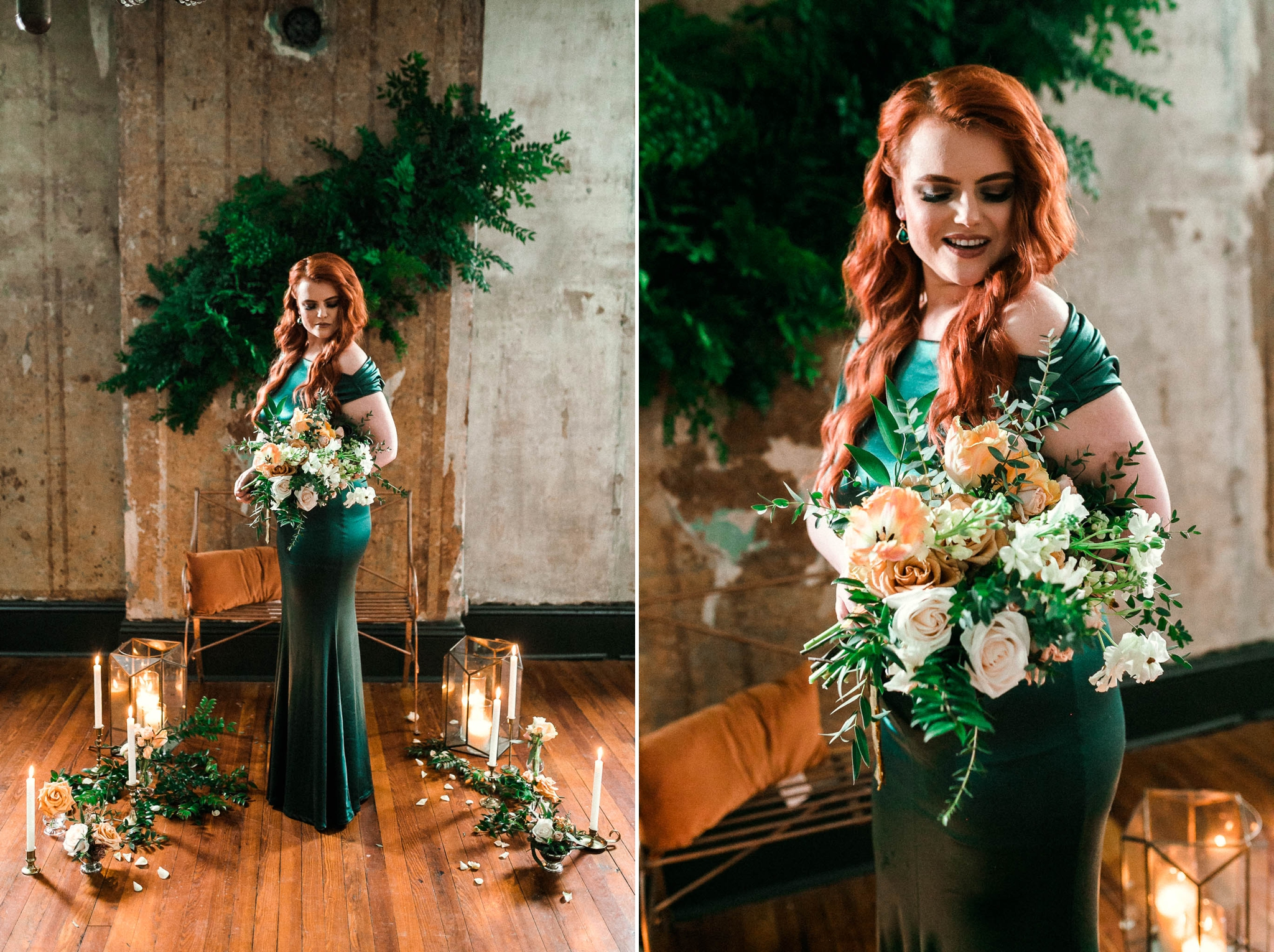 Indoor Portraits of the Red Headed Bride in an unique Emerald Wedding Dress standing up with her Bouquet in front of a floral display - Oahu Wedding Photographer