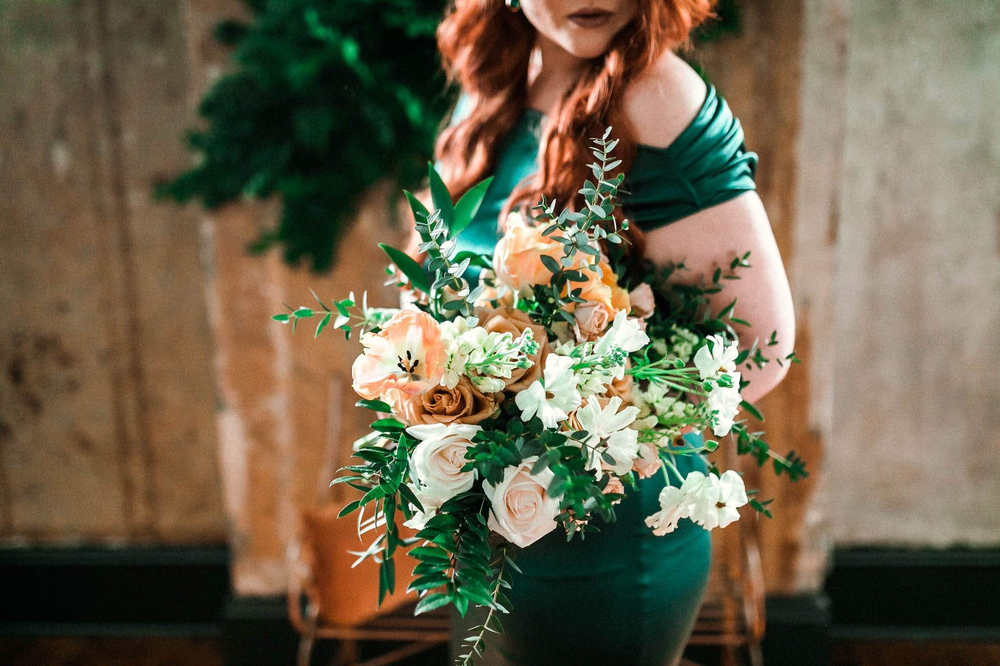 Close up shot of the Bridal Bouquet - Emerald City Inspired Styled Shoot - Oahu Hawaii Wedding Photographer
