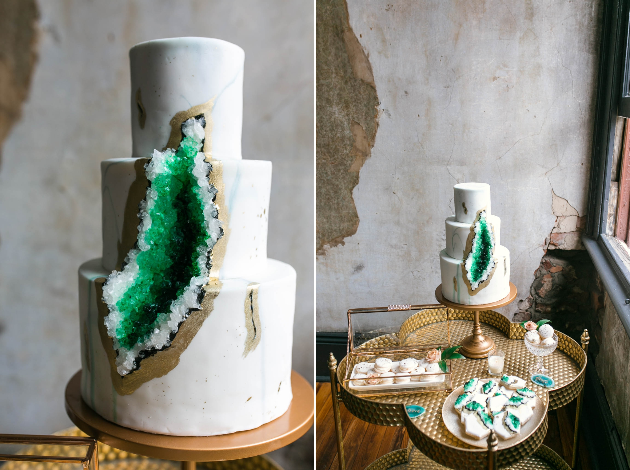 Geode and Rock Sugar Clustars Wedding Cake in white marble and Emerald Green and Blue with Gold Accents - Oahu Hawaii Wedding Photographer