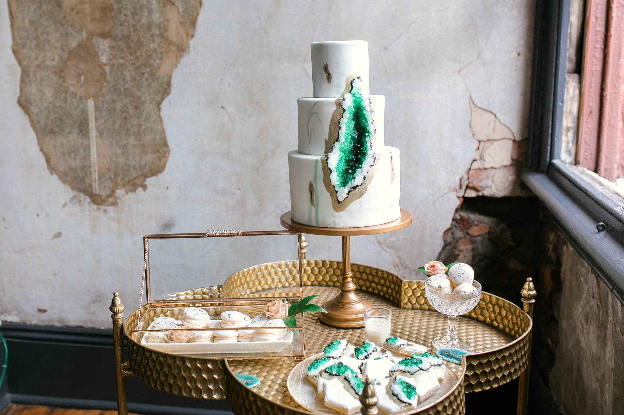 Wedding Desert Table with a Geode Wedding Cake, Macaroons and Geode Cookies in Emerald, Marble and Gold Colors - Oahu Hawaii Wedding Photographer