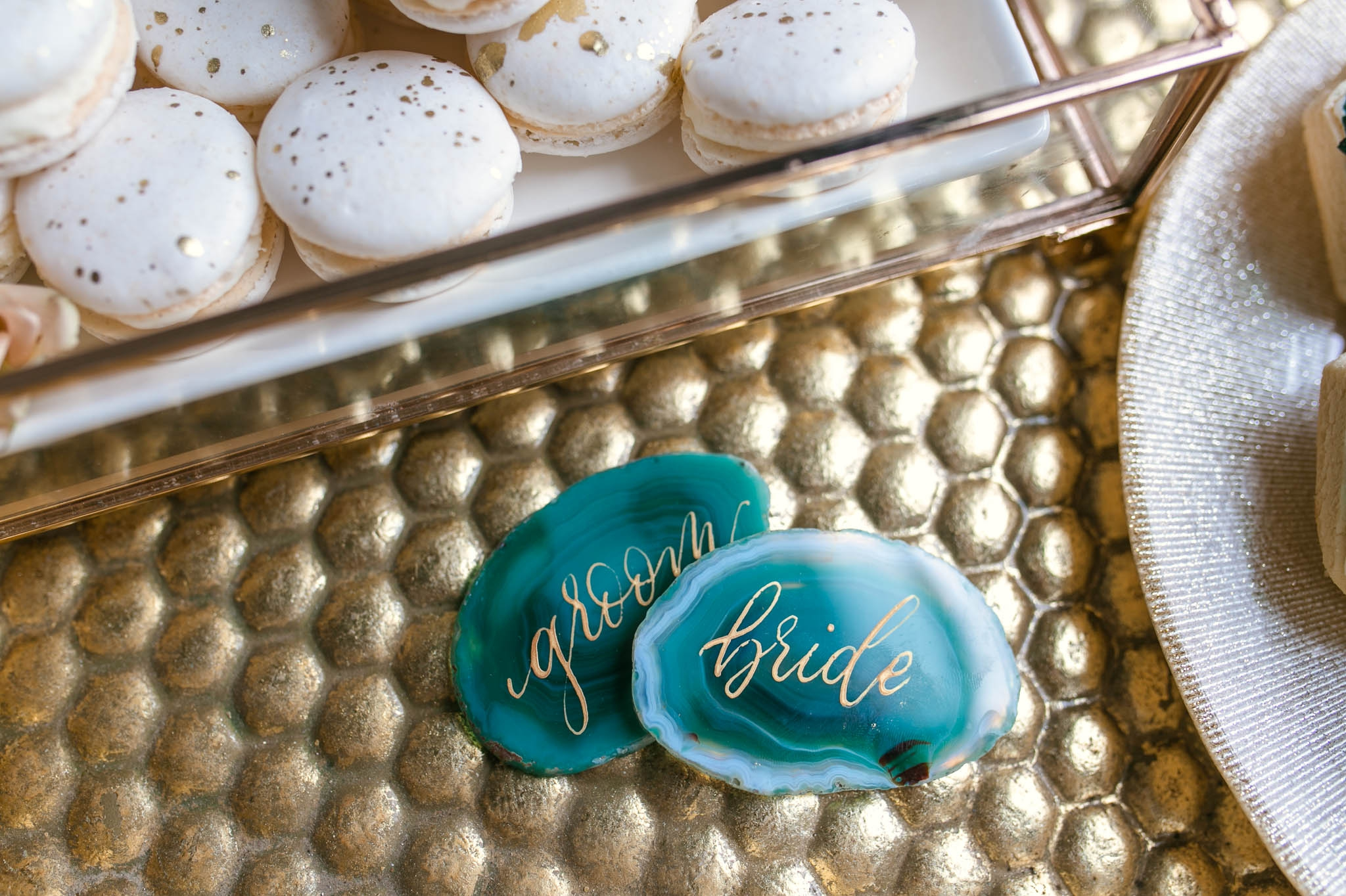 Bride and Groom Place Cards on Agate slices crystals with gold calligraphy for bride and groom - oahu hawaii wedding photography