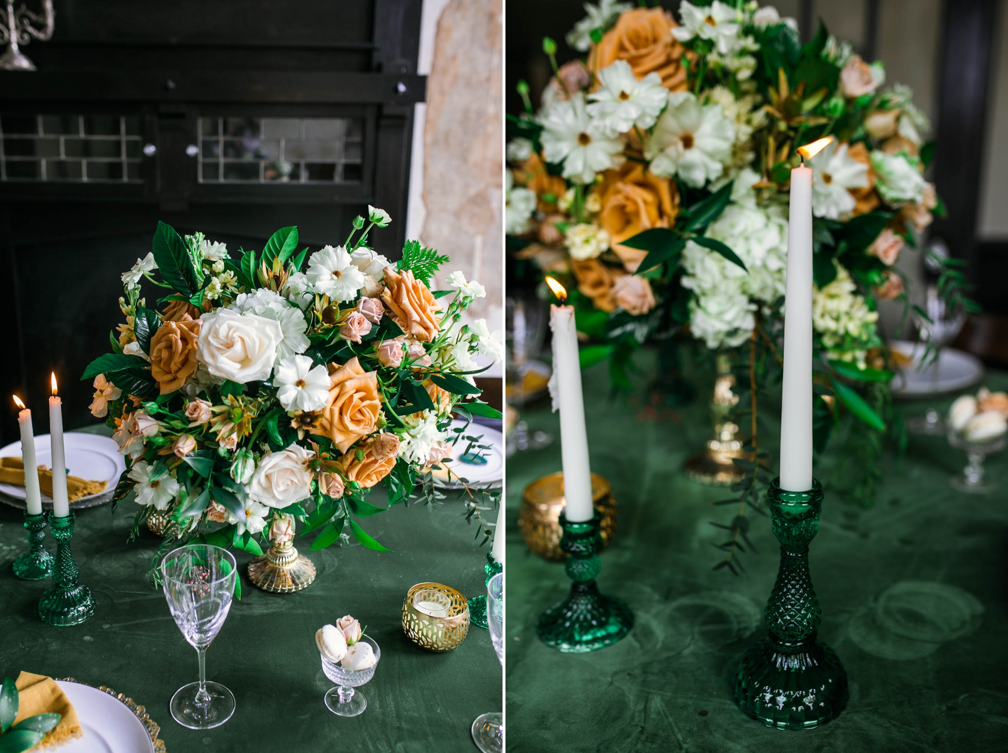 Close up of the Center piece for a Emerald inspired Wedding - green table cloth with gold candle sticks and a big Flowers as a centerpiece