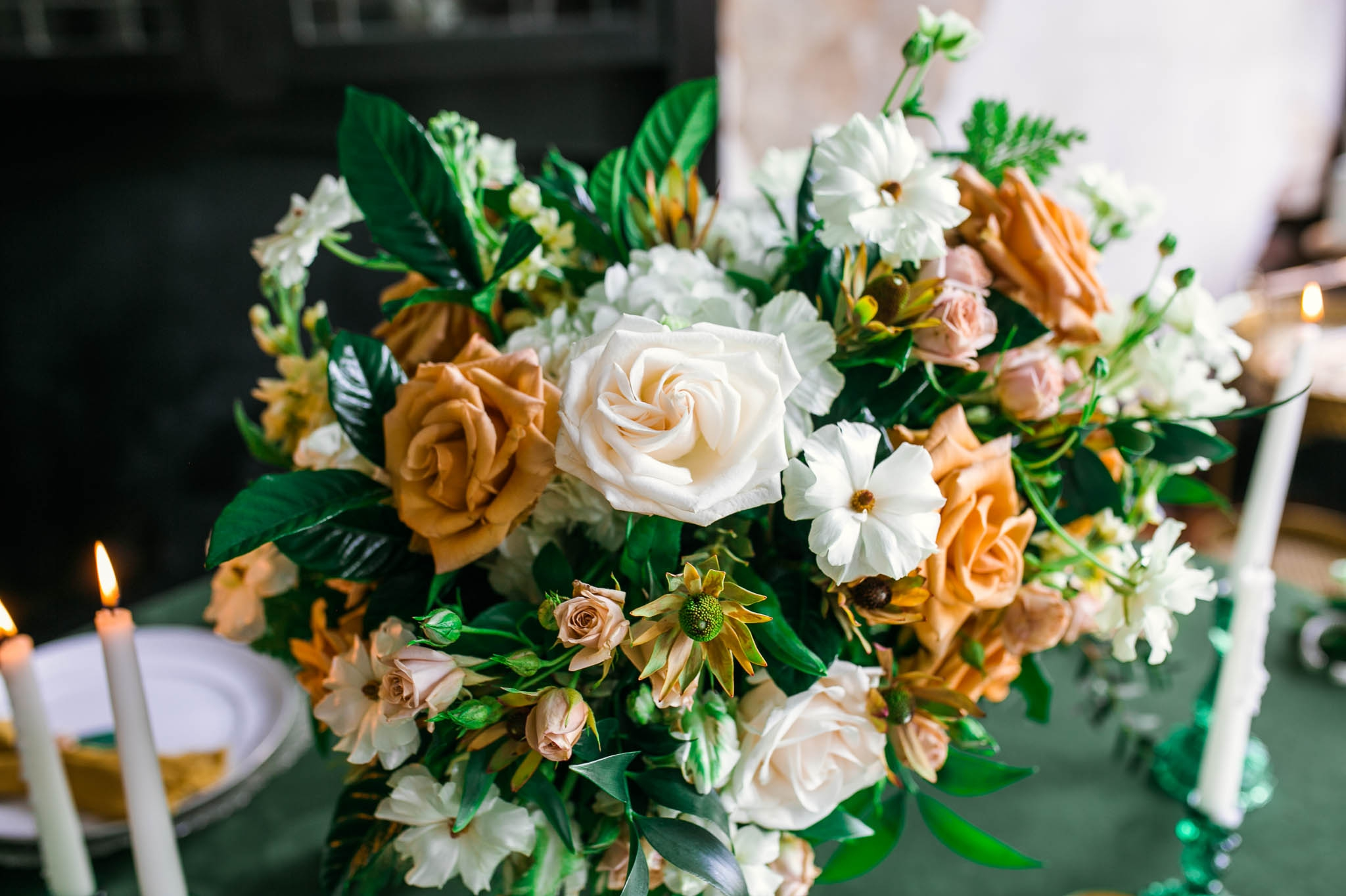 Green and Emerald Wedding Inspiration for the Guest Reception Tables - Close up of the Centerpiece - Oahu Hawaii Wedding Photographer