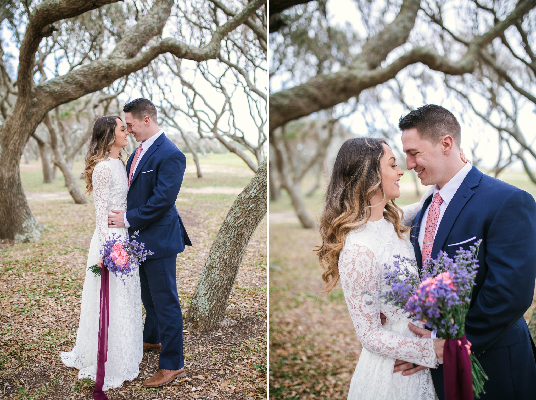 Beach Elopement Photography within the oak trees - dress by asos with purple and pink flowers and navy suit - oahu hawaii wedding photographer