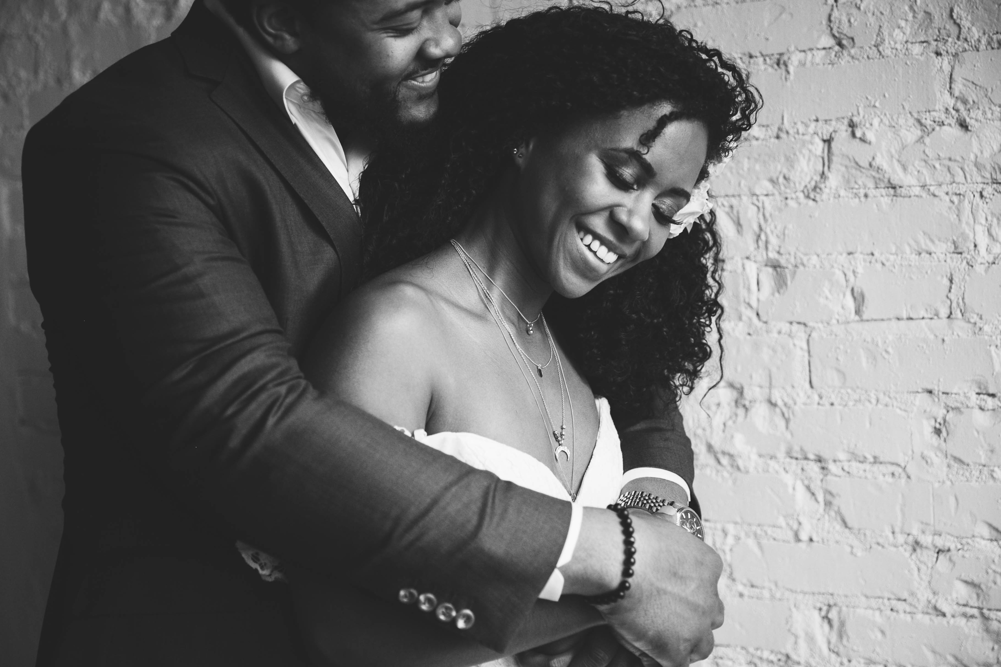 Natural light Indoor Portrait by a window of Bride and Groom - Black Love boho tropical wedding inspiration by Honolulu, Oahu, Hawaii Photographer - African American Couple