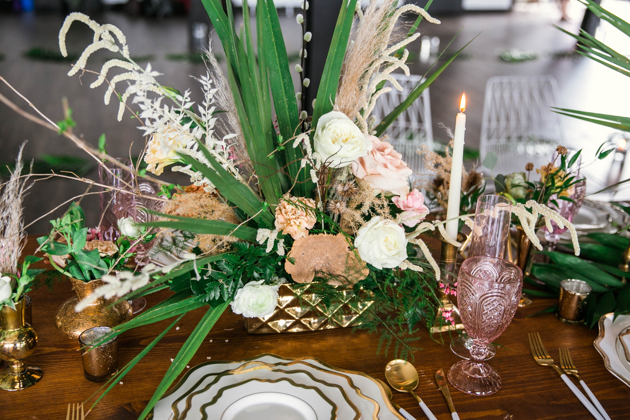 colorful flowers and big tropical center piece on a wooden family style table - Destination Wedding Inspiration - Honolulu, Oahu, Hawaii Photographer