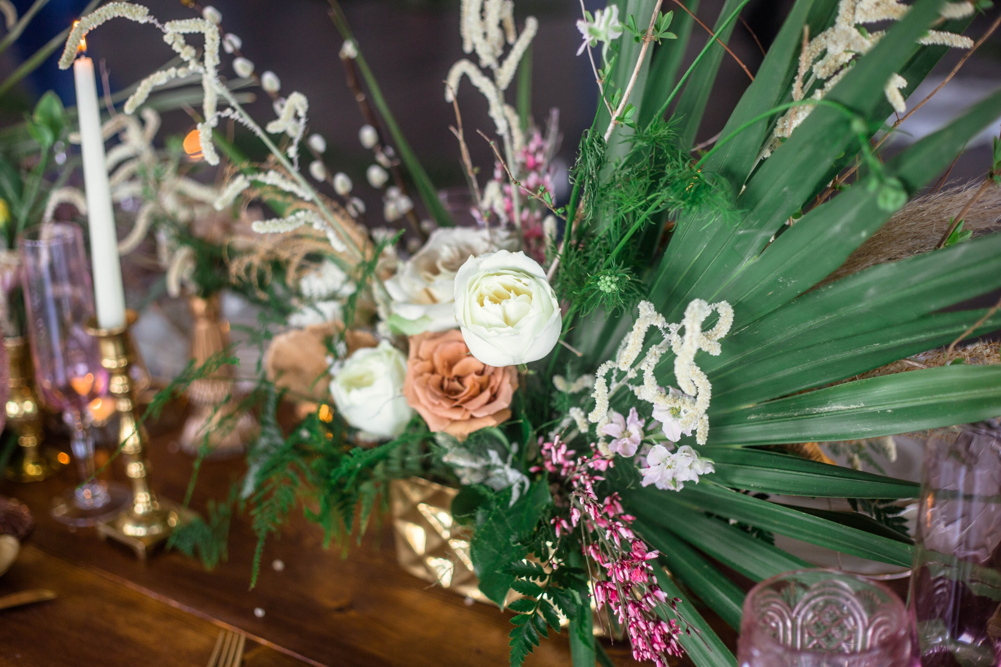 Wedding Table Setting with white and gold plates, pink glass wear, gold and white silverware - colorful flowers and tropical center piece - Destination Wedding Inspiration - Honolulu, Oahu, Hawaii Photographer