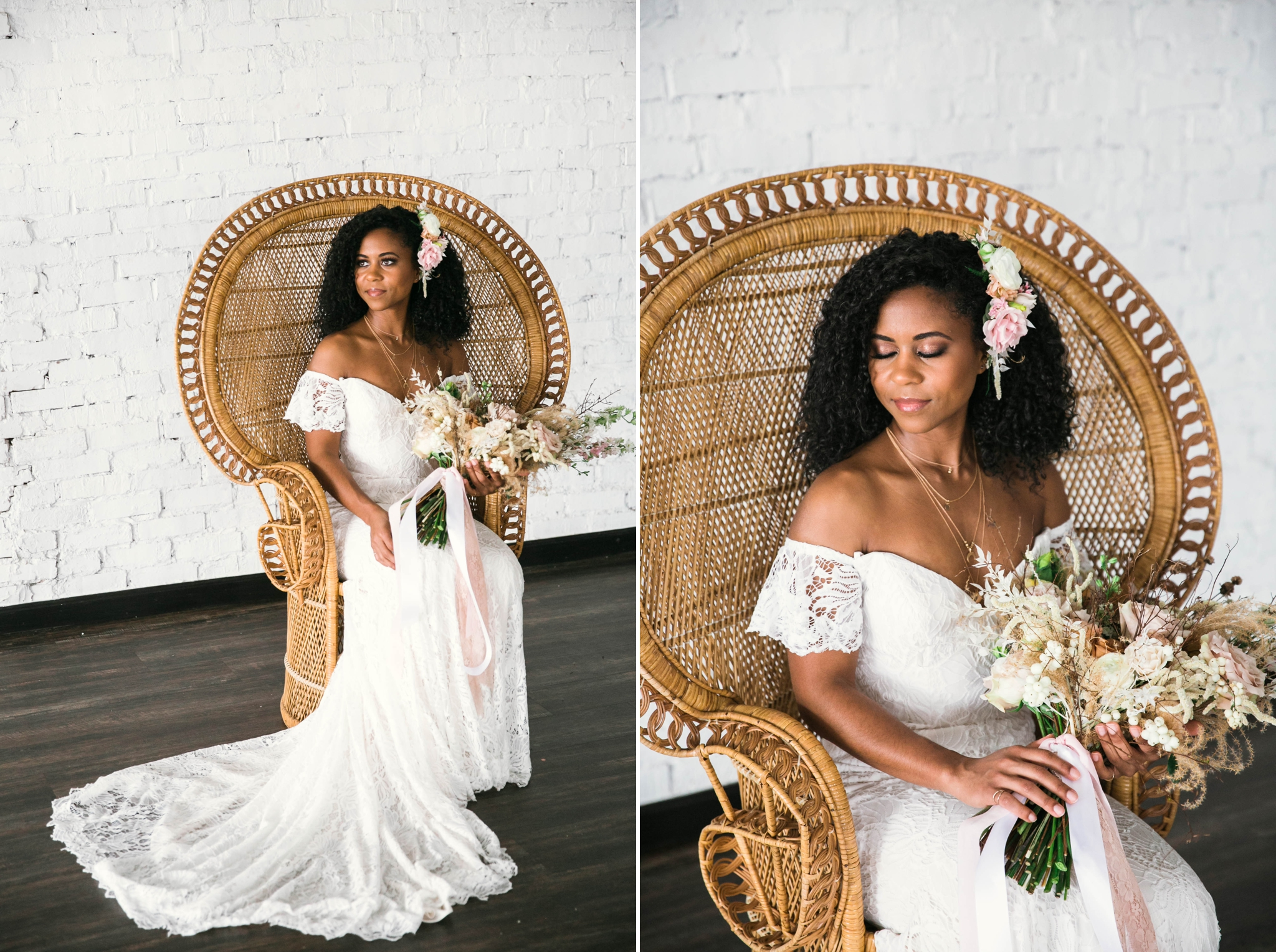 Indoor Wedding Portraits, shot with natural light - black love - african american bride with natural hair sitting in a Midcentury Woven Wicker Peacock Chair in a boho wedding dress with a big bouquet - tropical inspiration - honolulu, oahu, hawaii photographer