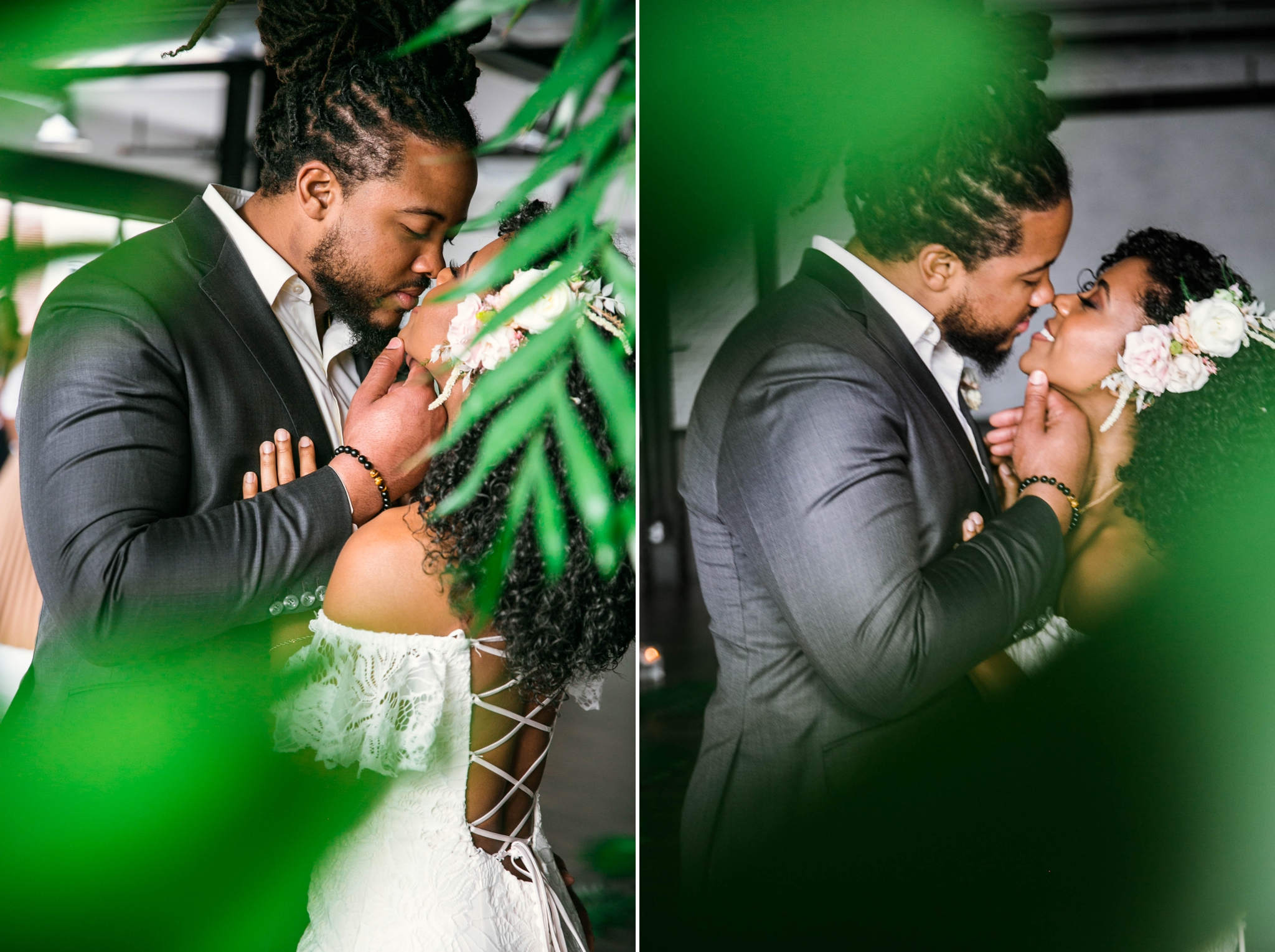 Indoor Natural Light Portraits of Bride and Groom - Tropical Boho Inspired Styled Shoot - Oahu Hawaii Wedding Photography