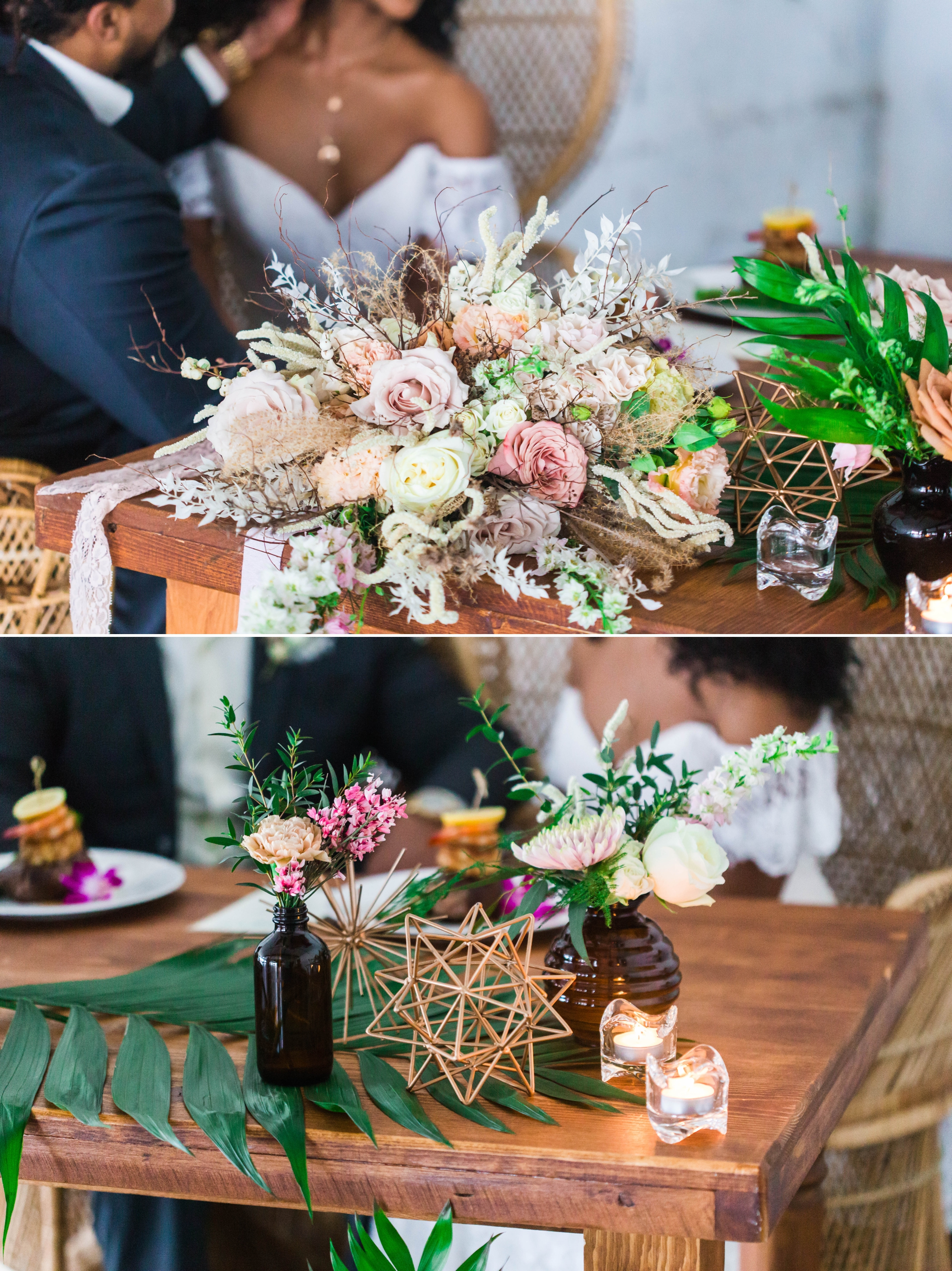 Bride and groom at the sweetheart table at their wedding reception sitting in Midcentury Woven Wicker Peacock Chairs - Black Love - Tropical Destination Wedding Inspiration - Oahu Hawaii Wedding Photography - indoor natural light photographer