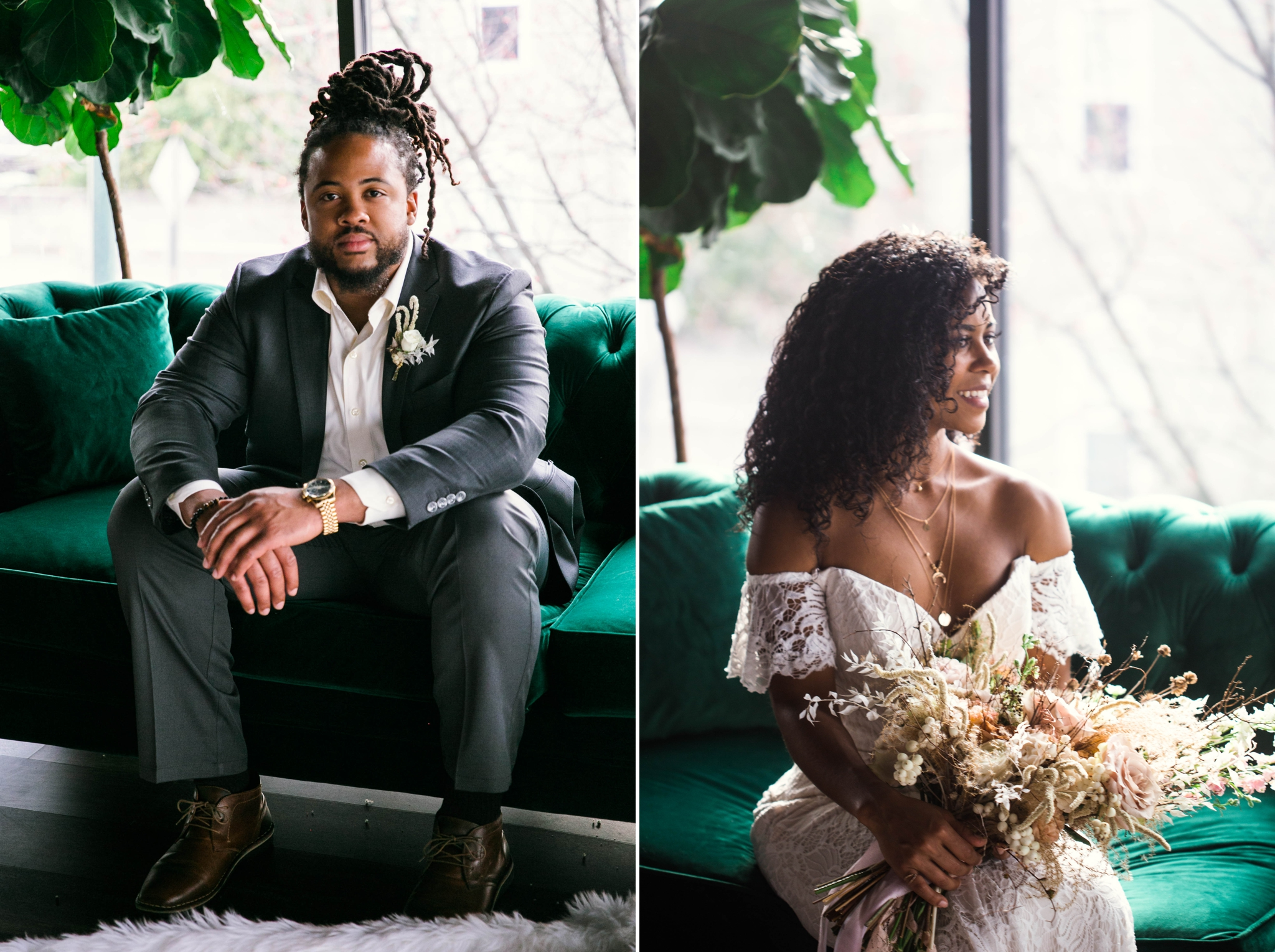 Indoor Natural light portrait of a black bride  in a boho wedding dress and her groom sitting on an emerald tufted sofa - laughing and having fun with each other- flowers in natural african american hair - oahu hawaii wedding photographer