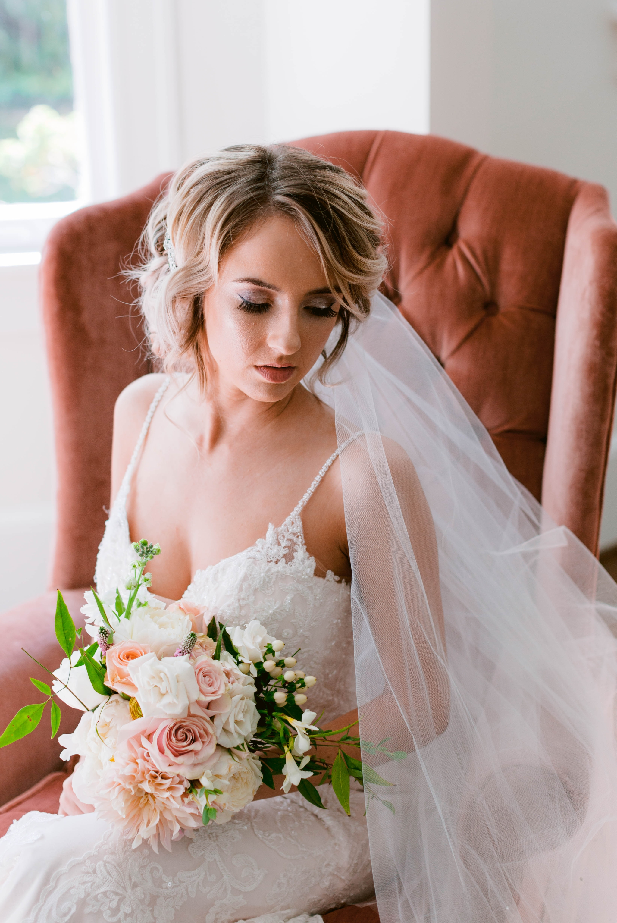 Allison Howell - Indoor Natural Light Bridal Portraits by a window with a white backdrop - classic bride - Honolulu, Oahu, Hawaii Wedding Photographer