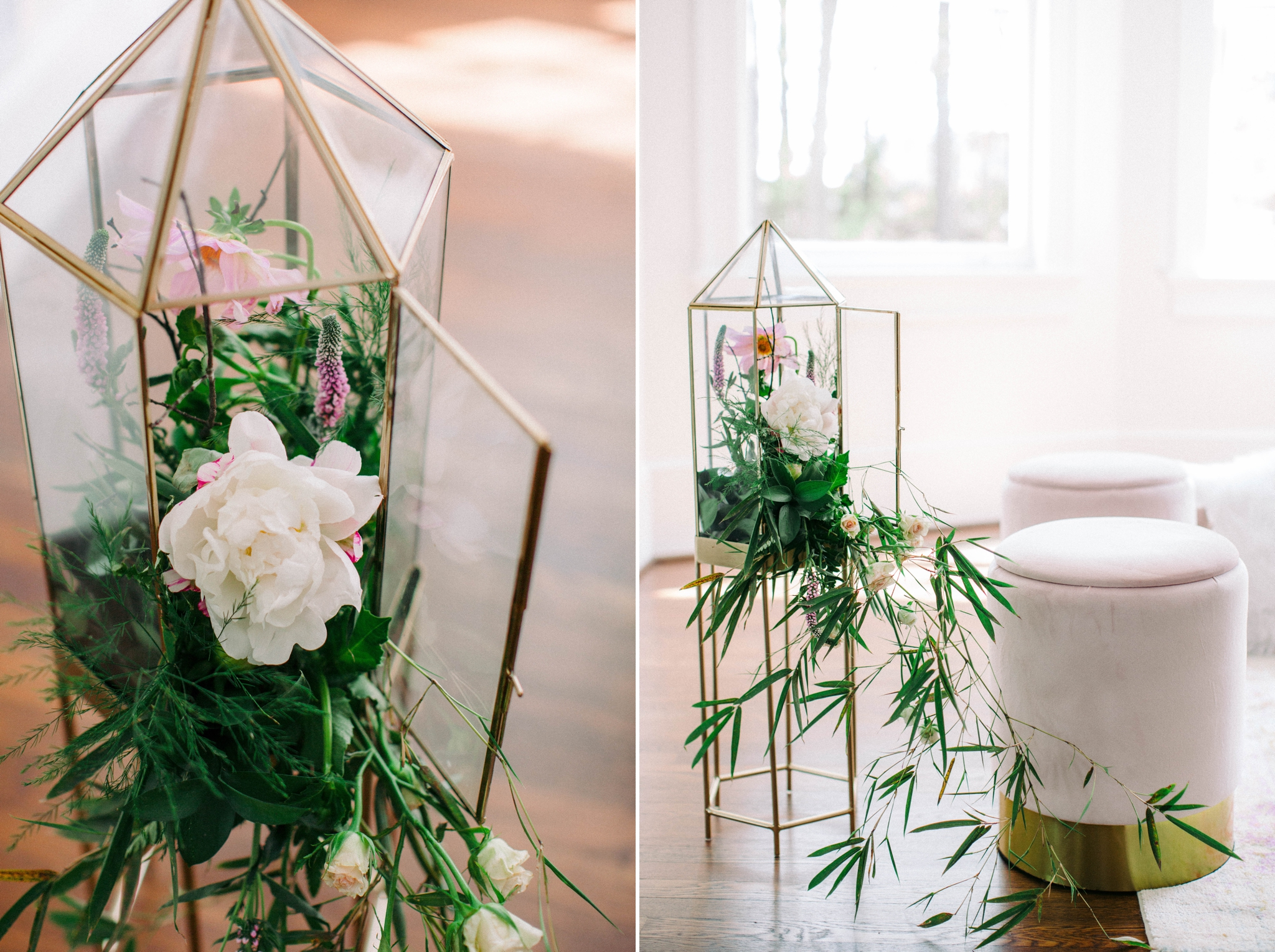 Gold terrarium with green plants and white flowers as wedding decorations - honolulu oahu hawaii wedding photographer