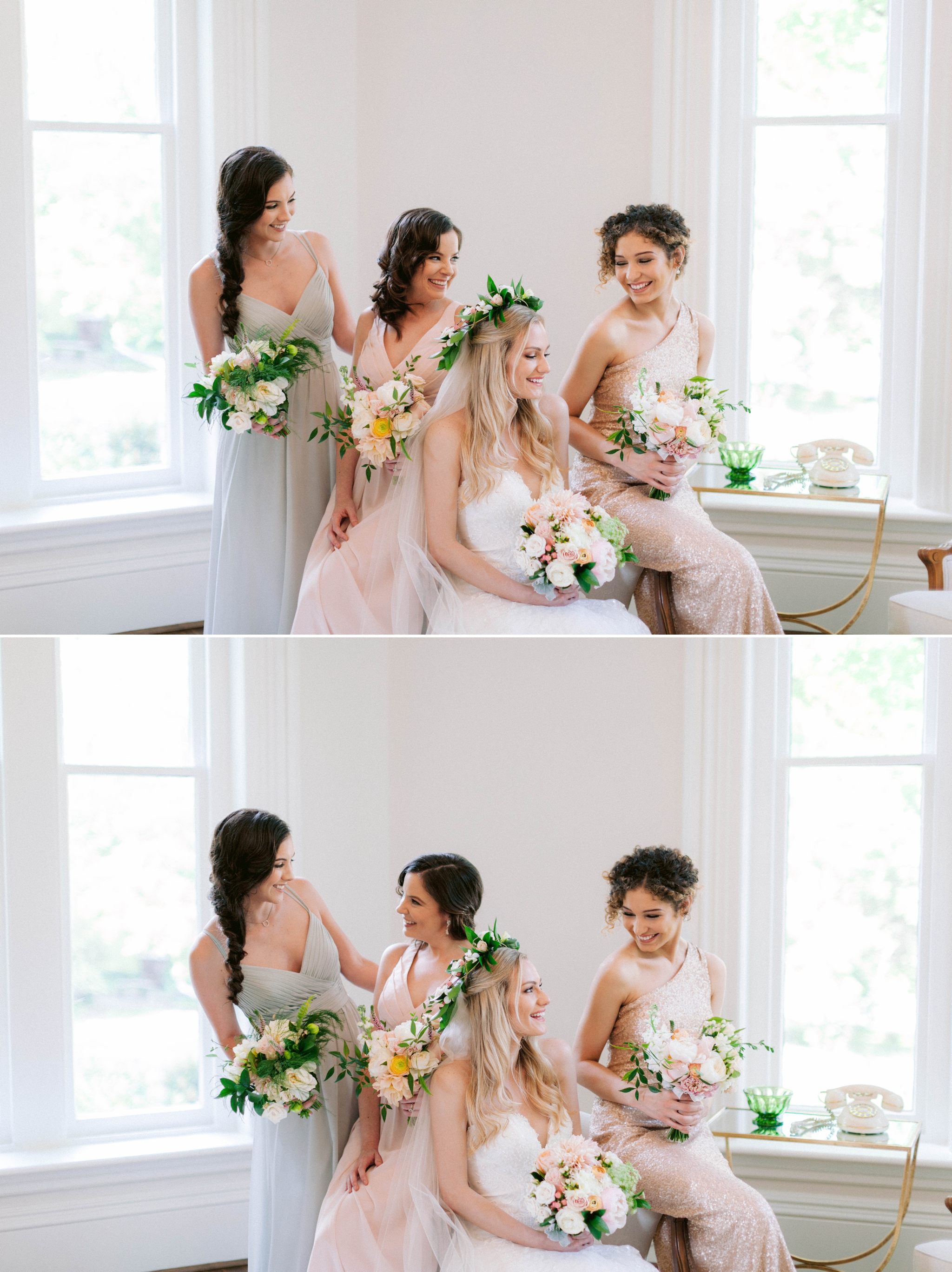 Indoor Bride + bridesmaids portraits in an all white room at a luxury estate with natural light before the ceremony sitting on a chair for an editorial shot - Bride is wearing a Hawaiian Flower Crown and a cathedral veil in a Wedding Gown by Stella York - Honolulu Oahu Hawaii Fine Art Wedding Photographer - Johanna Dye Photography - edited with for the love of film presets by jose villa
