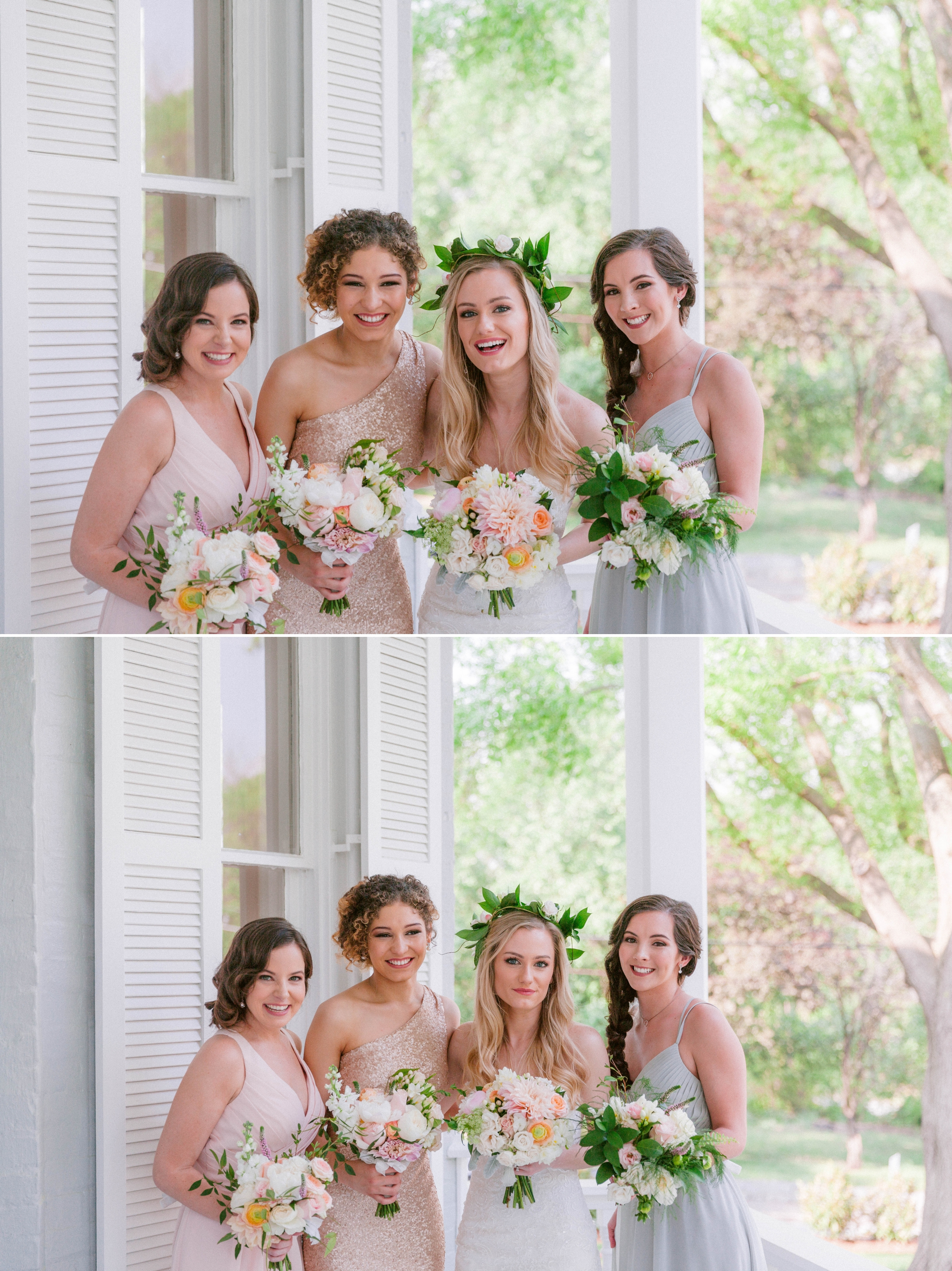 Bride + bridesmaids portraits in an all white room at a luxury estate with natural light before the ceremony sitting on a chair for an editorial shot - Bride is wearing a Hawaiian Flower Crown and a cathedral veil in a Wedding Gown by Stella York - Honolulu Oahu Hawaii Fine Art Wedding Photographer - Johanna Dye Photography - edited with for the love of film presets by jose villa