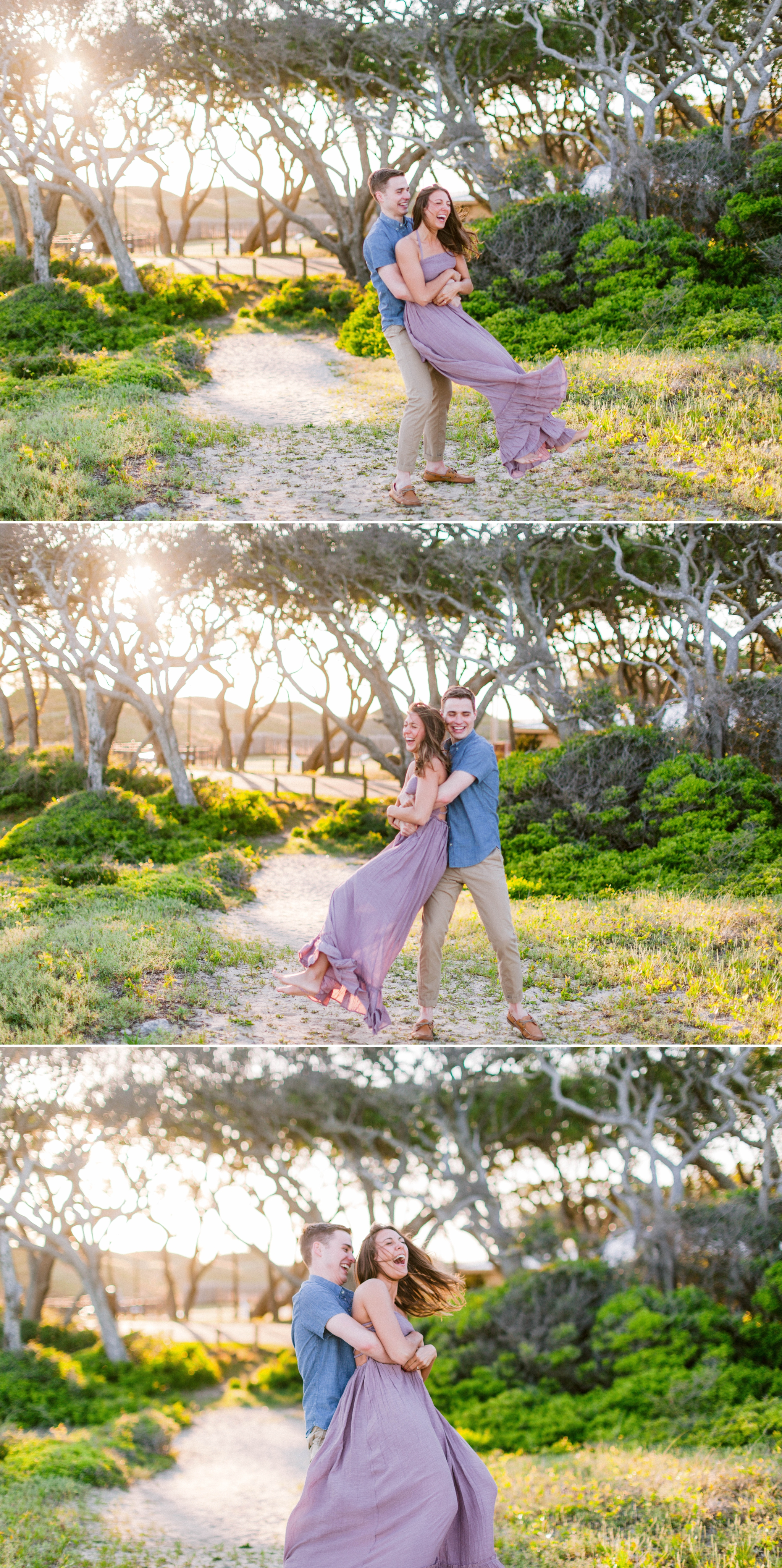 Guy dancing with girl in front of live oak trees with the sunset behind them - Woman is in a flowy pastel maxi dress - unposed and candid outdoor golden light session - engagement photographer in honolulu, oahu, hawaii - johanna dye