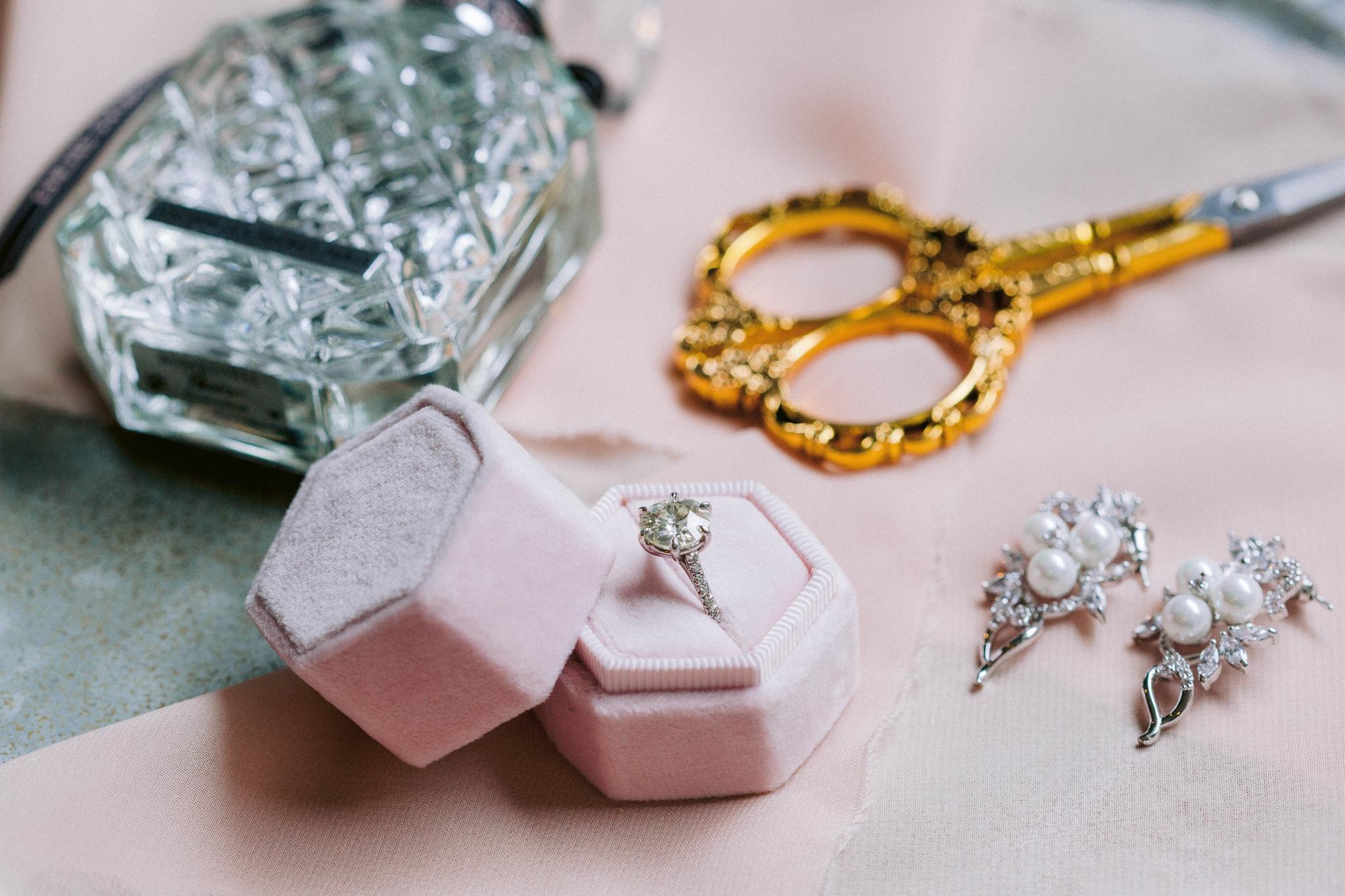 engagement ring in blush velvet ring box with gold scissors  - Honolulu Oahu Hawaii Wedding Photographer