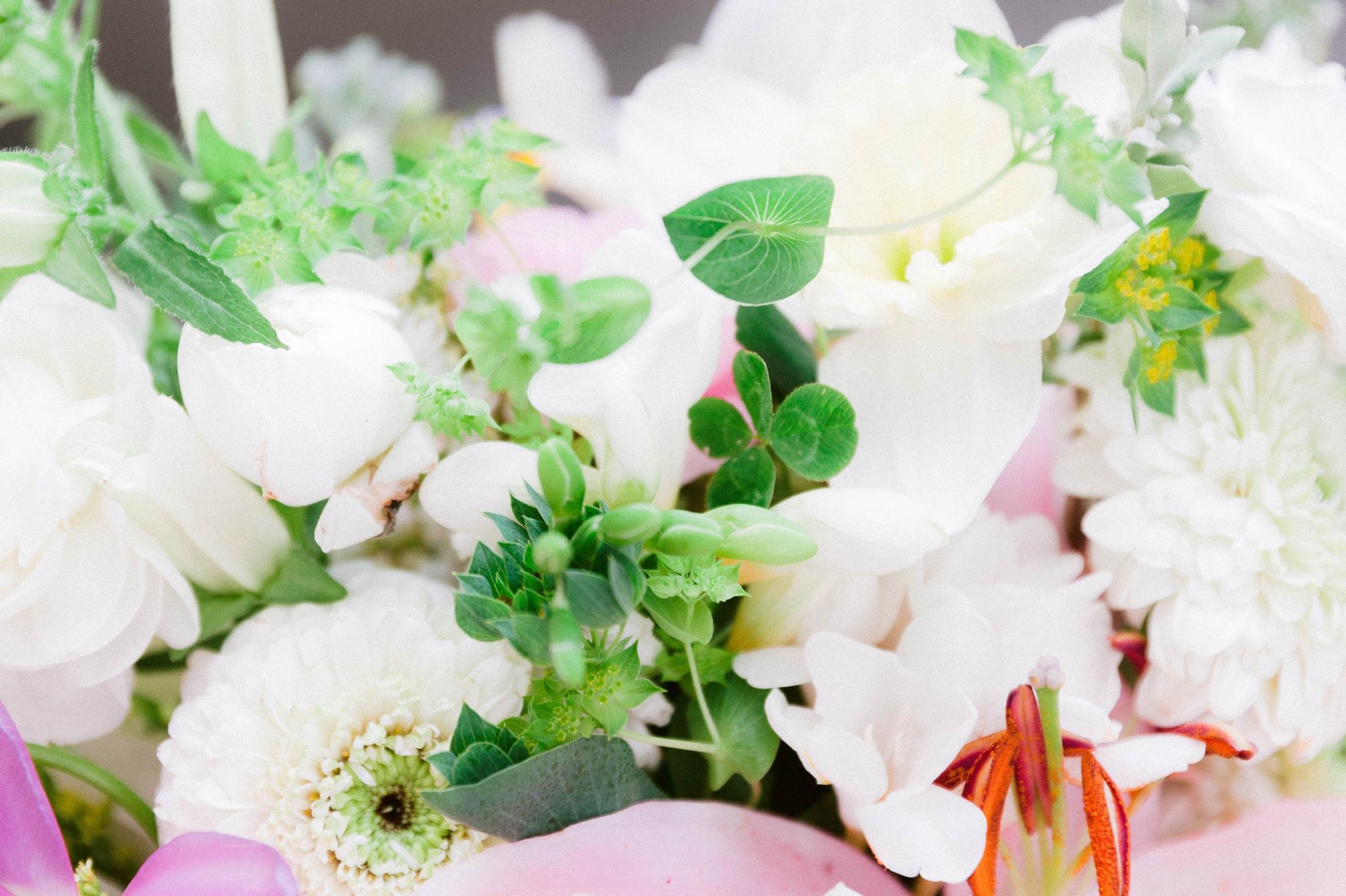 bridal flower bouquet with a four leaf clover - Honolulu Oahu Hawaii Wedding Photographer