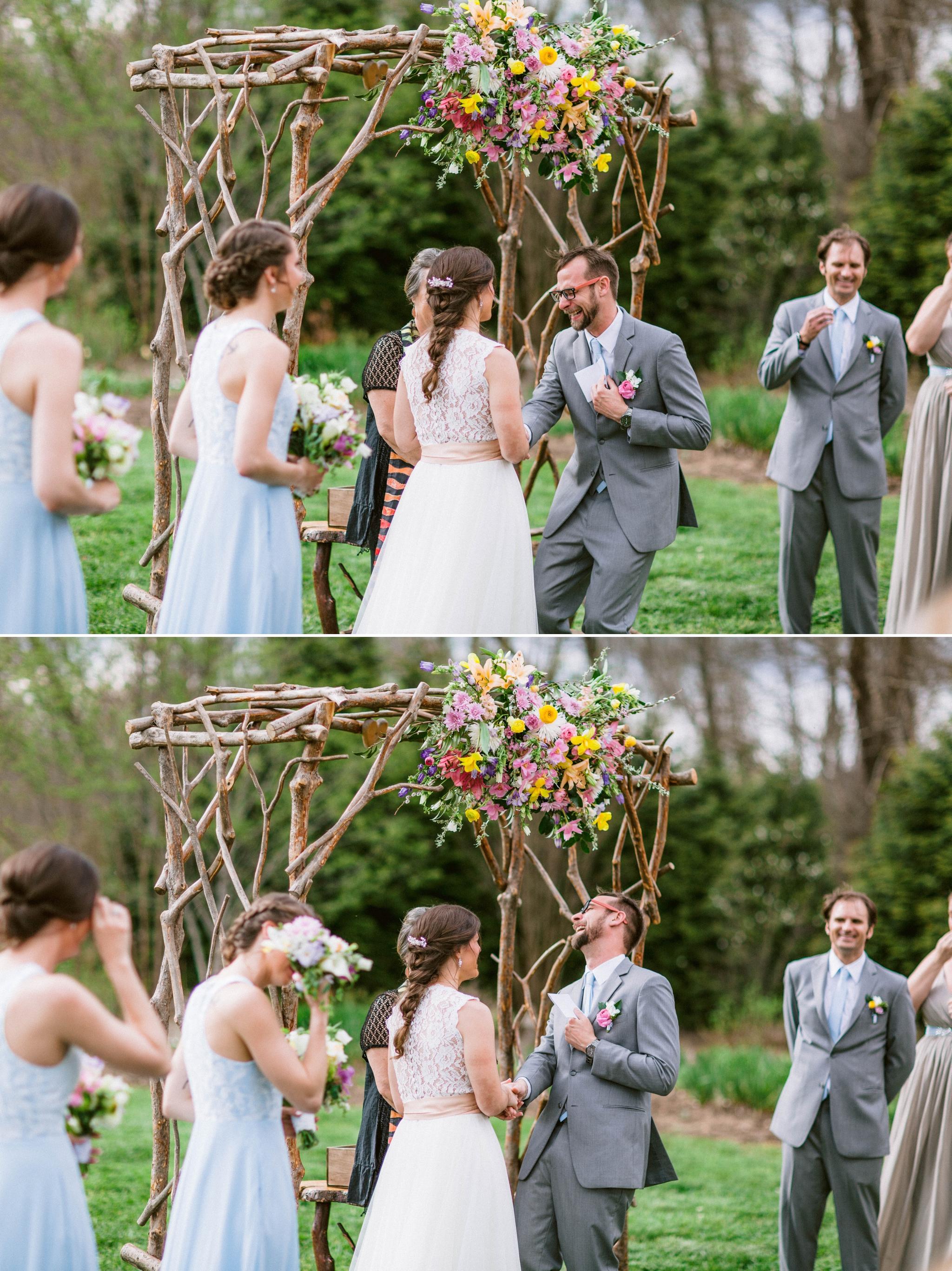 groom laughing during the ceremony - Honolulu Oahu Hawaii Wedding Photographer
