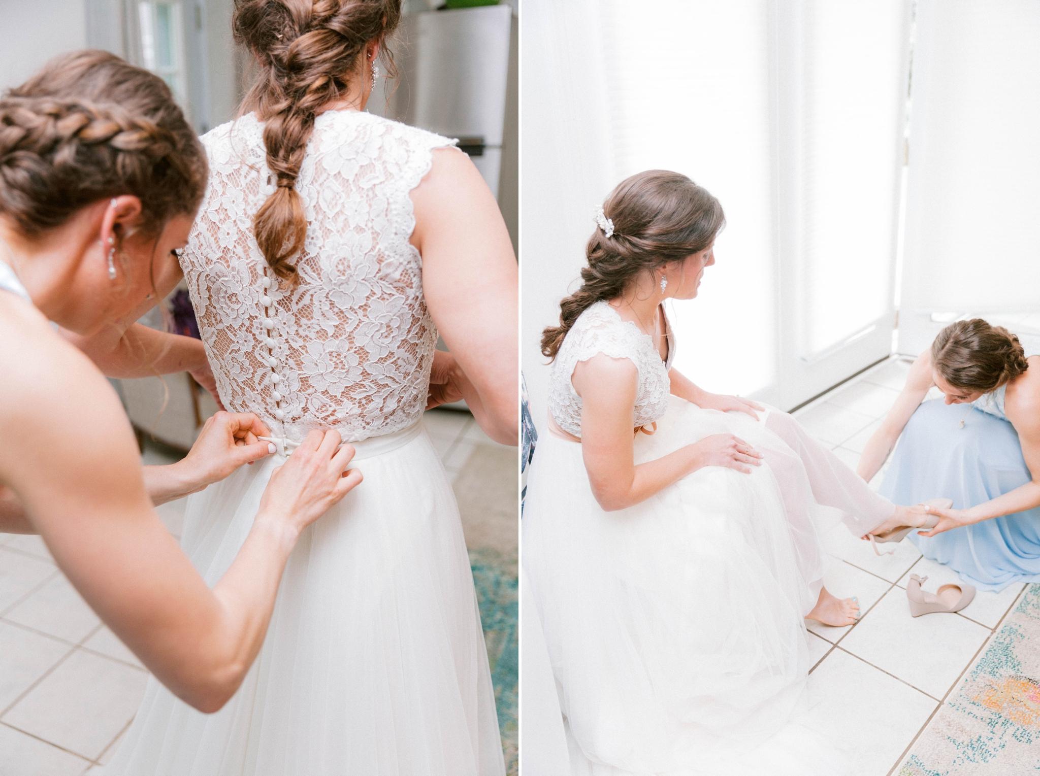 bride getting into her dress and shoes - Honolulu Oahu Hawaii Wedding Photographer
