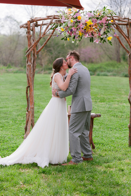 first kiss emotional outdoor boho ceremony - Honolulu Oahu Hawaii Wedding Photographer