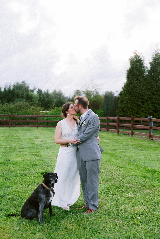bride and groom portraits with their dog - Honolulu Oahu Hawaii Wedding Photographer