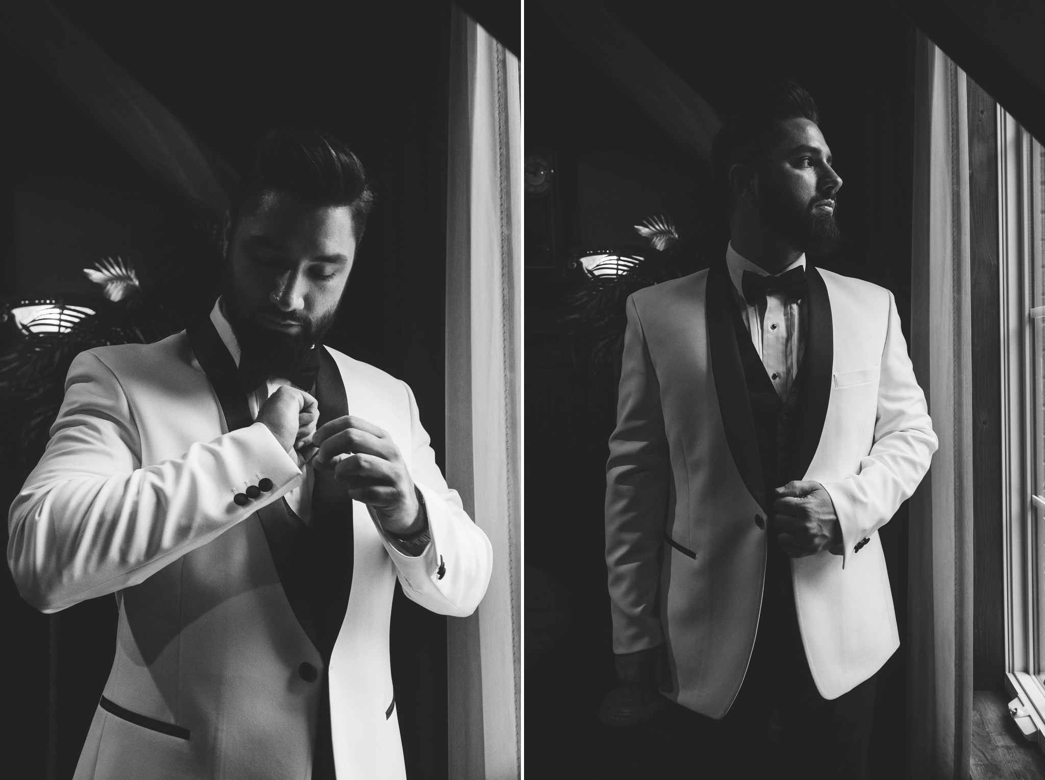 Groom Portraits while getting ready in black and white - Honolulu Oahu Hawaii Wedding Photographer