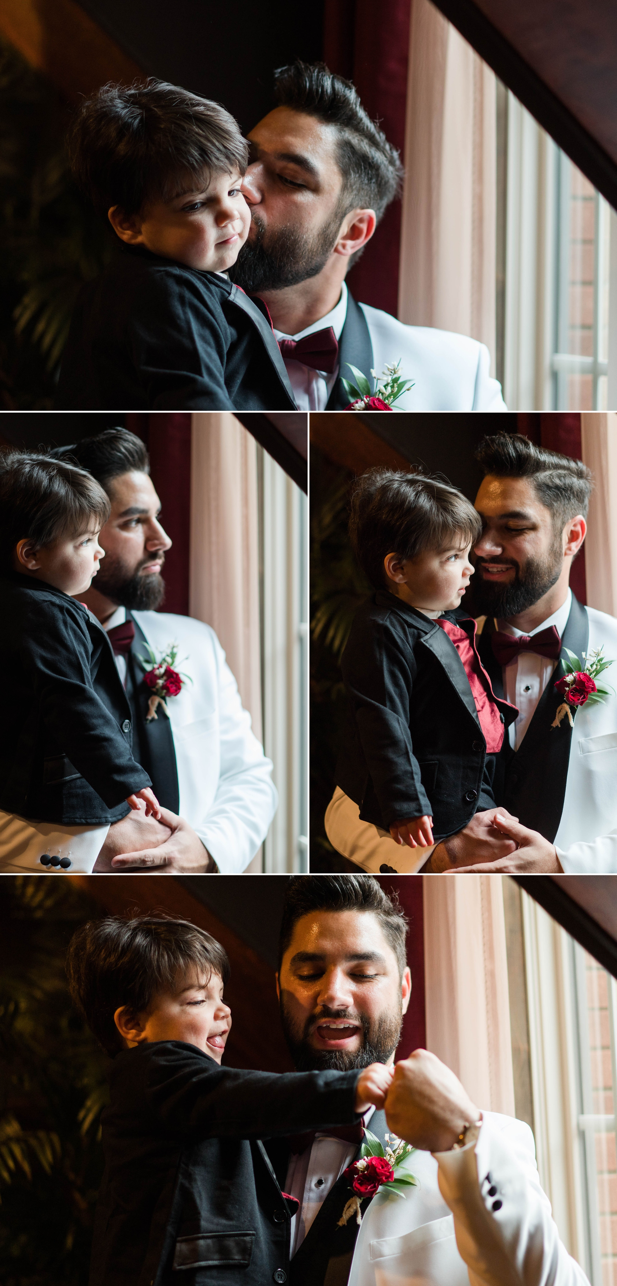 Groom spending quality time with his son before the ceremony - - Honolulu Oahu Hawaii Wedding Photographer