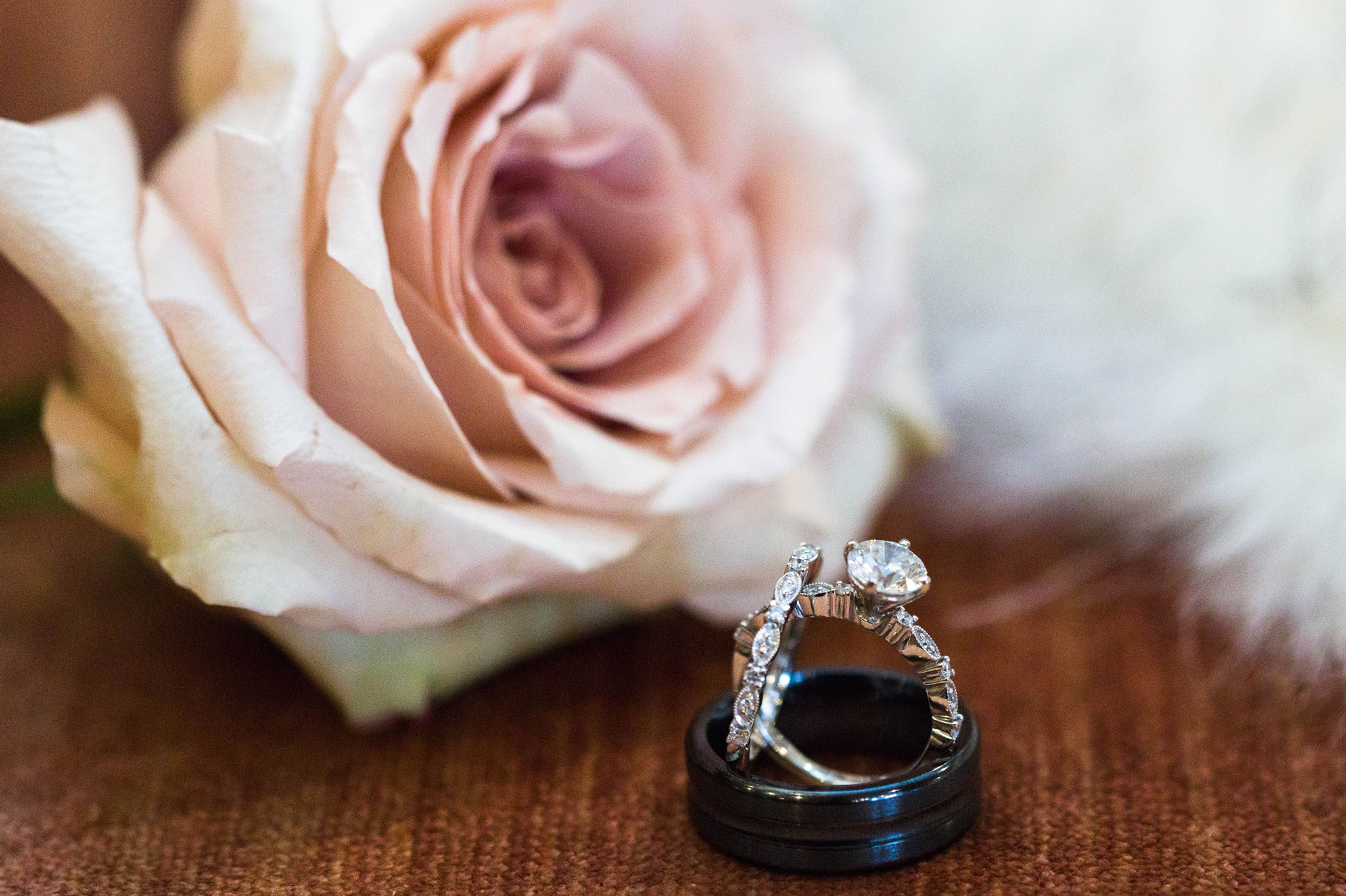 Wedding Ring Details with roses - Honolulu Oahu Hawaii Wedding Photographer