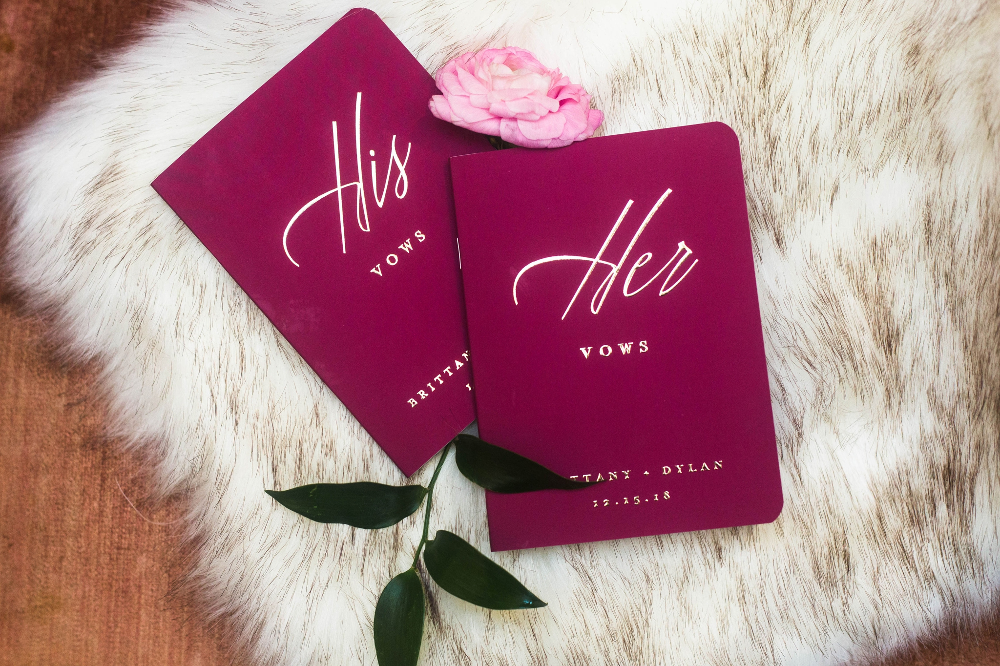 Berry Colored Vow Books with fur and roses - Honolulu Oahu Hawaii Wedding Photographer