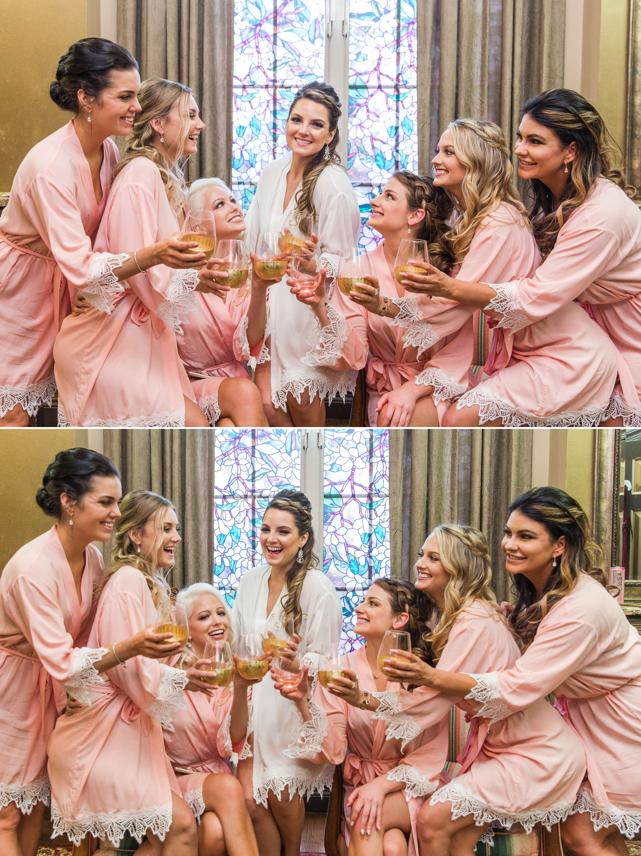 Bride and her Bridesmaids in Robes cheering each other with champagne before the ceremony - Honolulu Oahu Hawaii Wedding Photographer