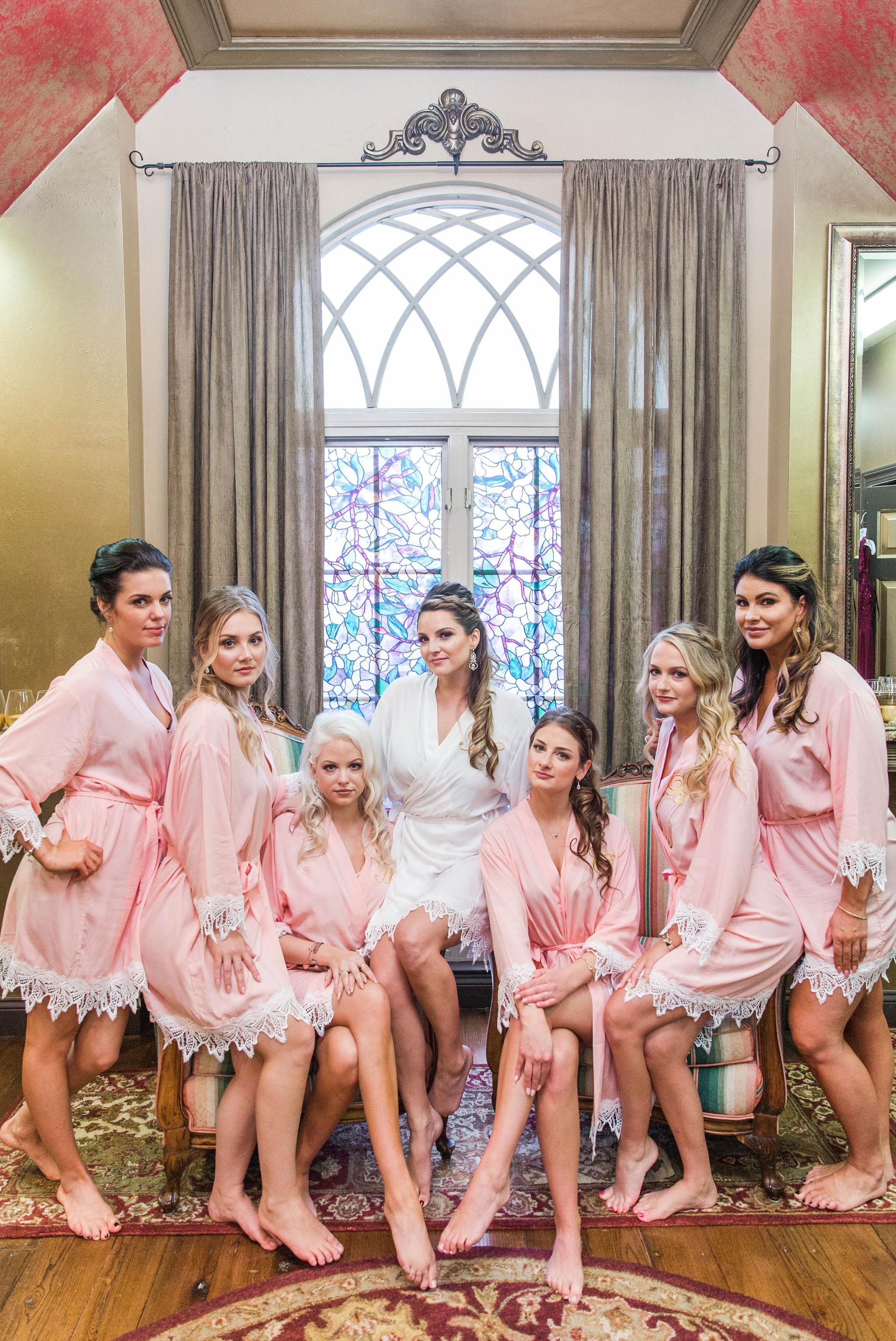 Bride and Bridesmaids hanging out in blush robes getting ready - Honolulu Oahu Hawaii Wedding Photographer