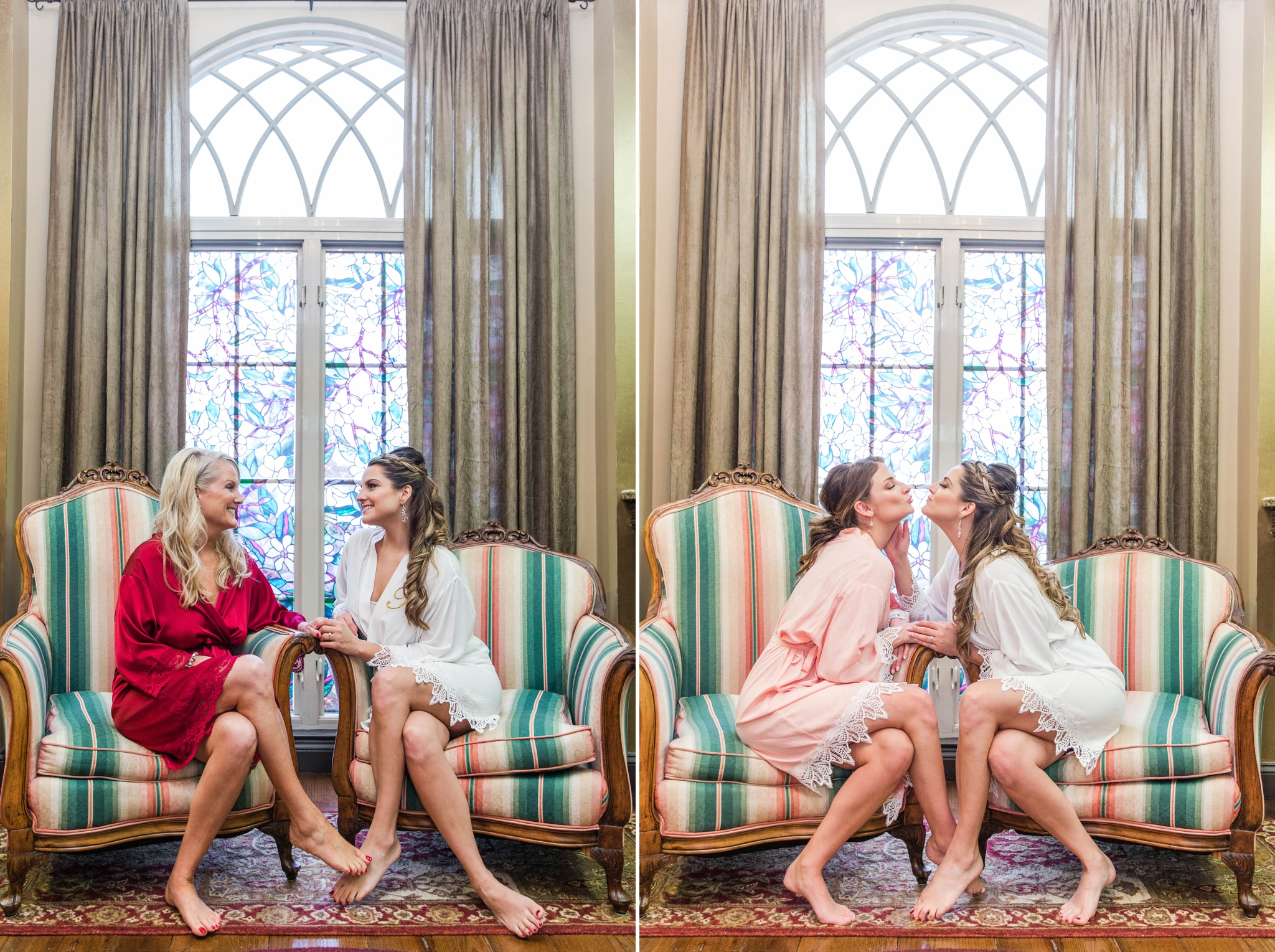 Bride and her mom and sister hanging out in beautiful chairs in the bridal suite - - Honolulu Oahu Hawaii Wedding Photographer
