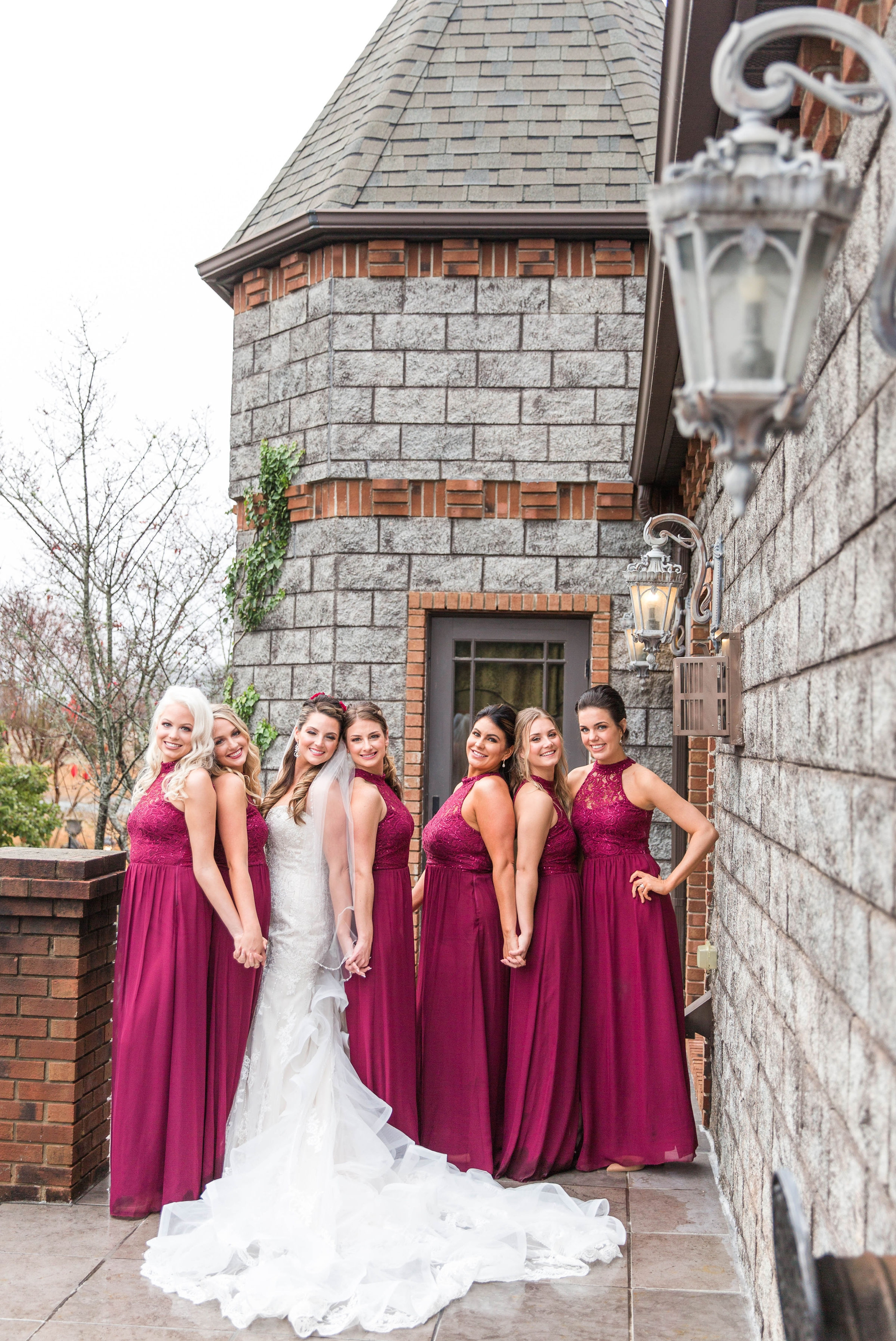 Bride and Bridesmaids Portrait on top of the Castle - Honolulu Oahu Hawaii Wedding Photographer