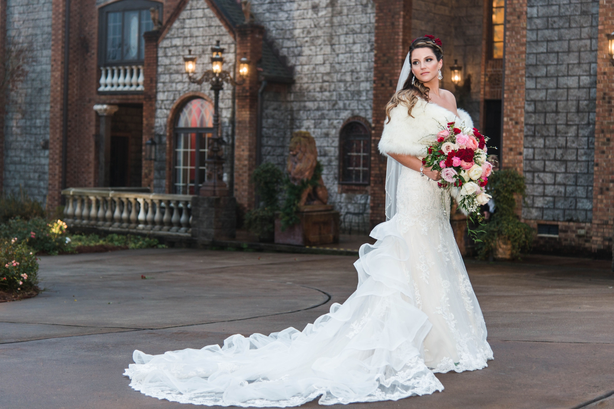 Portraits of the Bride in front of the Castle - Honolulu Oahu Hawaii Wedding Photographer
