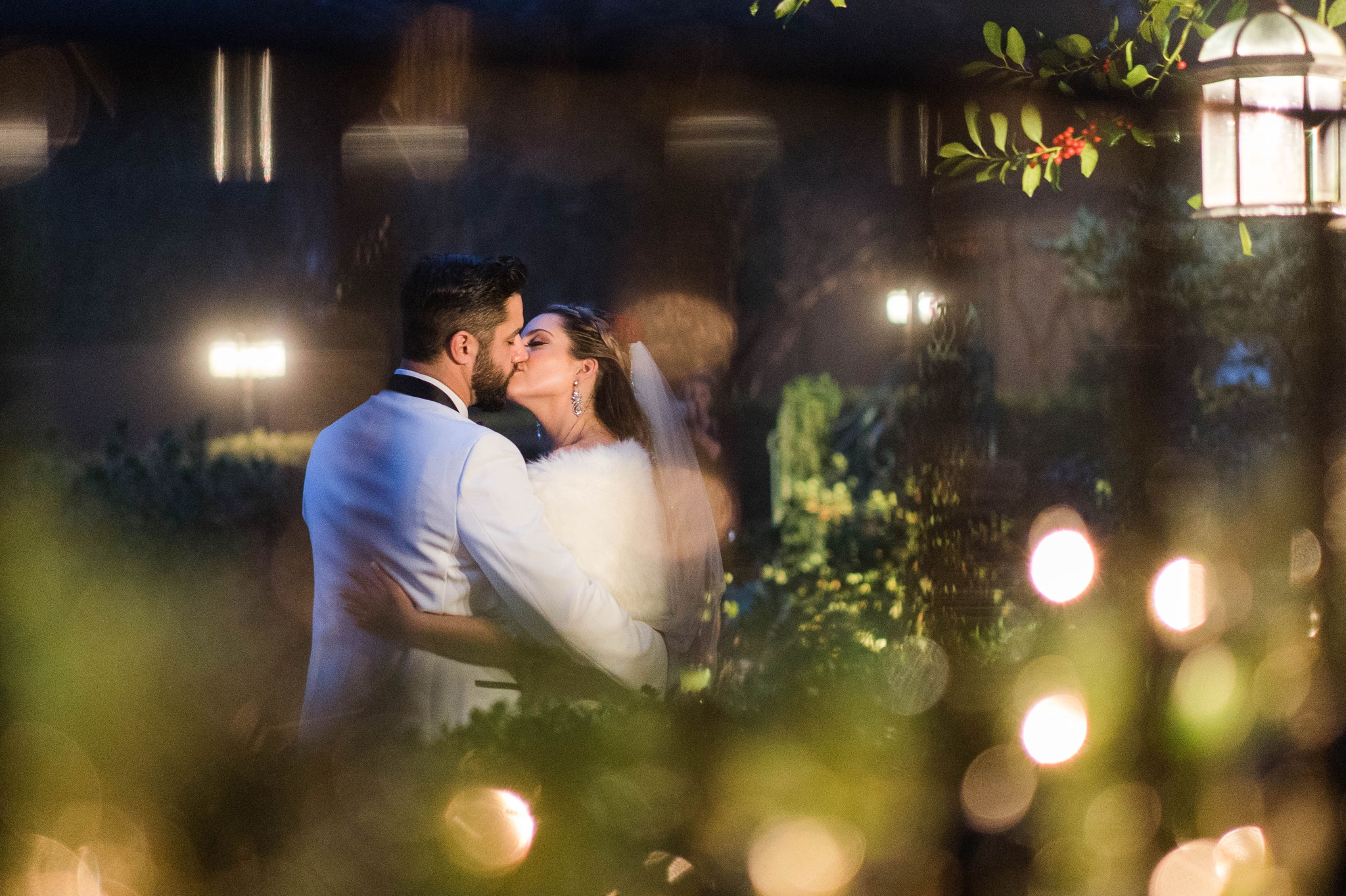 Portraits of the Bride and Groom at night - Honolulu Oahu Hawaii Wedding Photographer