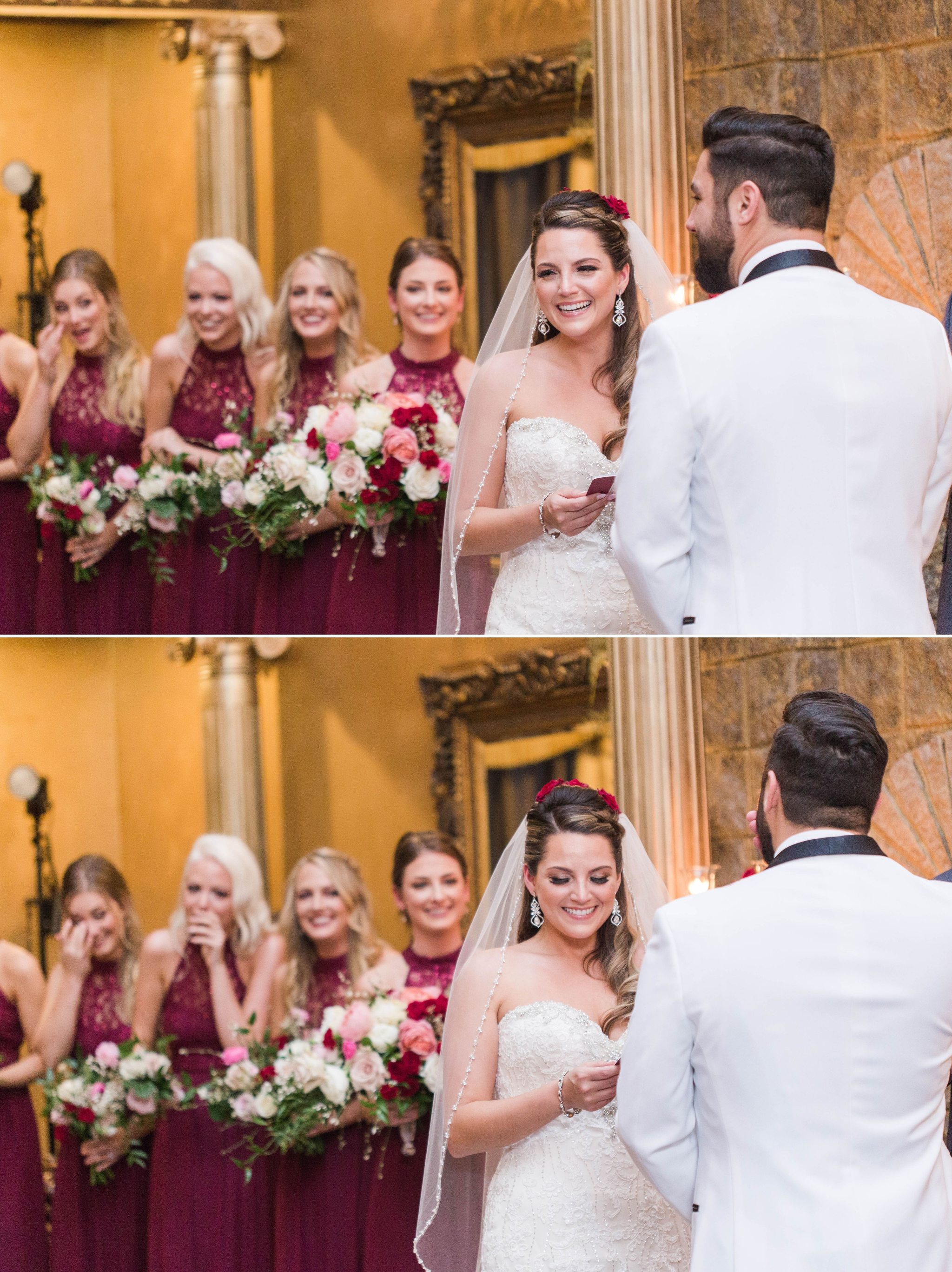 Bride laughing and crying during the wedding vows - Honolulu Oahu Hawaii Wedding Photographer
