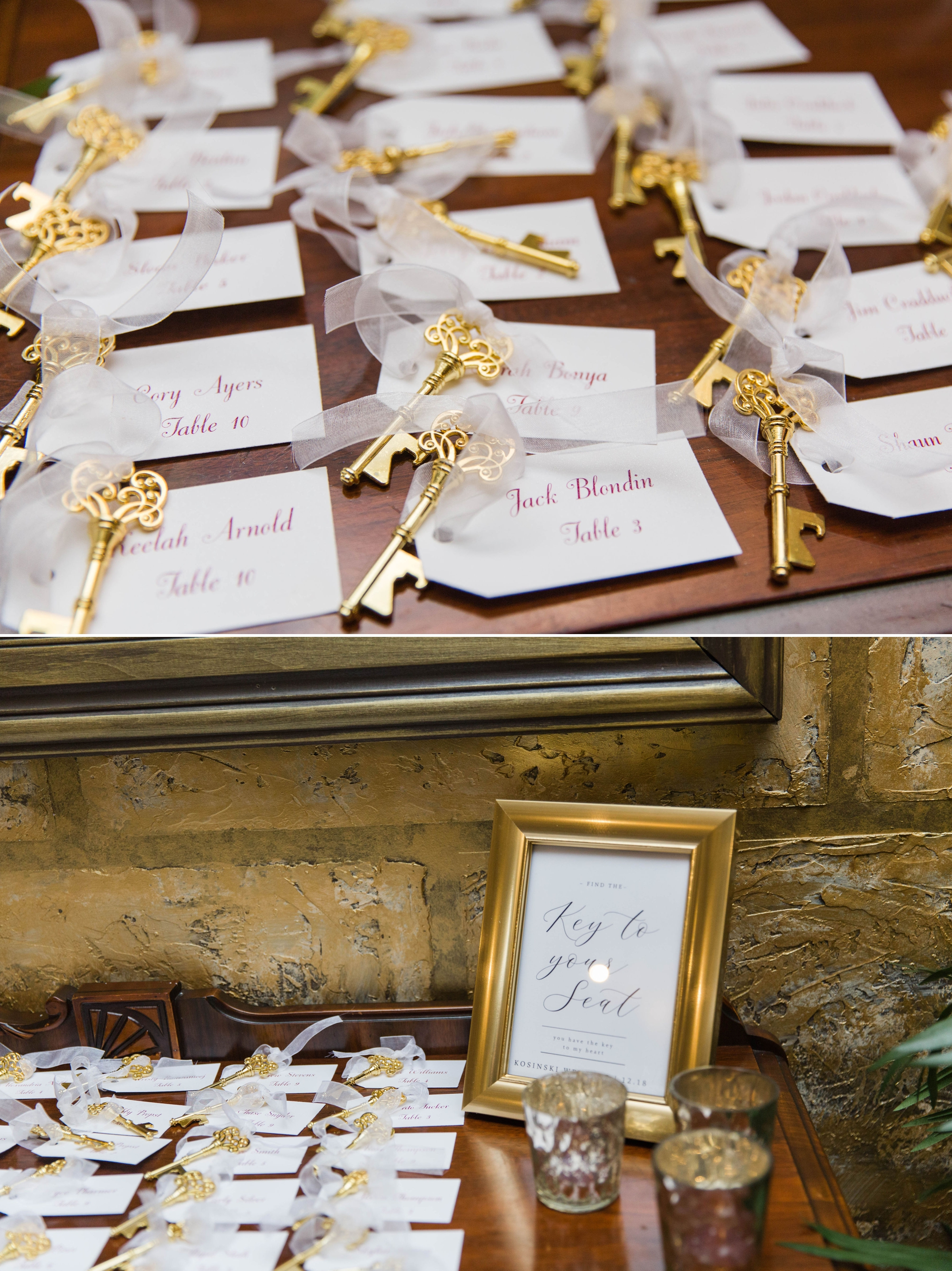 Keys as Place cards Reception Details - Honolulu Oahu Hawaii Wedding Photographer