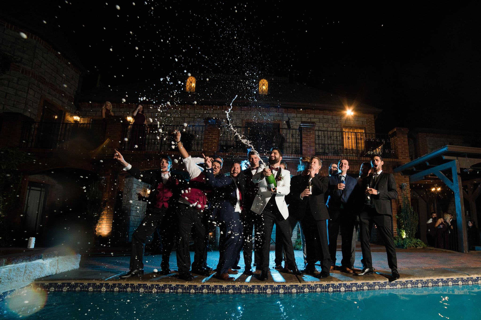 Popping champagne Outdoor groomsmen shot with Off Camera Flash OCF Mag Mod - Honolulu Oahu Hawaii Wedding Photographer
