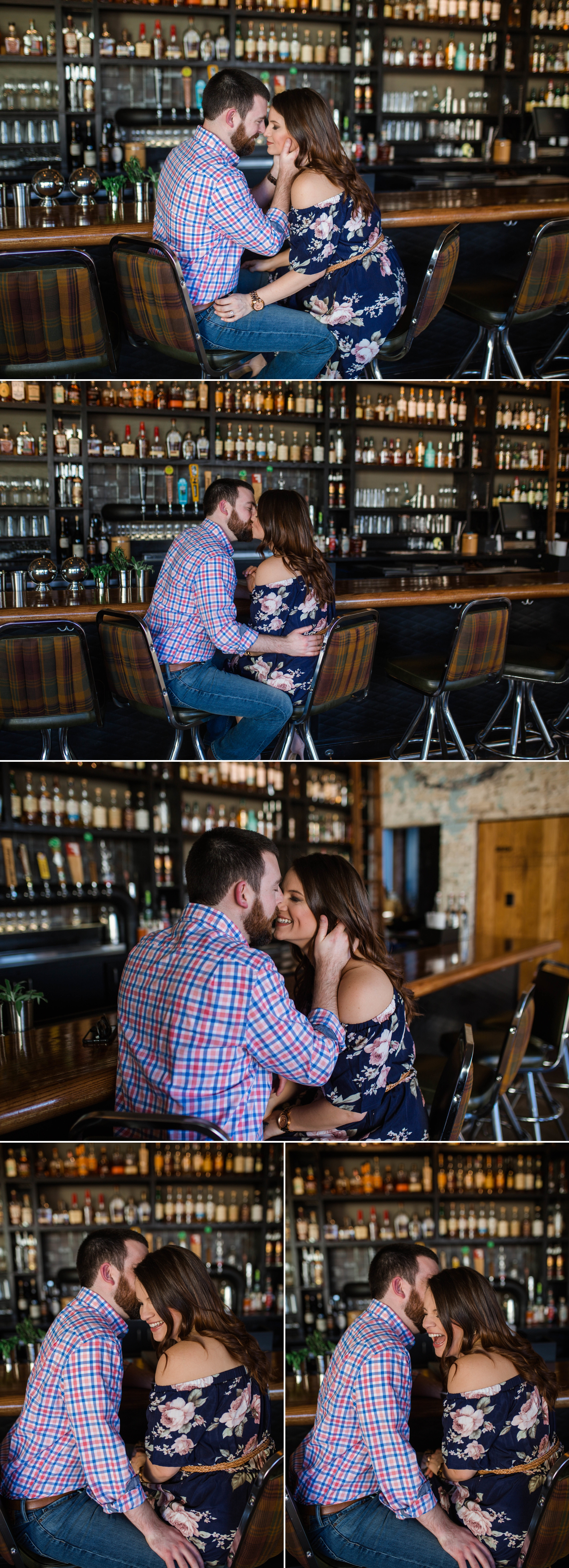 Clare and Wallace reuniting at Dram & Draught, the Bar at which they had first met, for their engagement Session