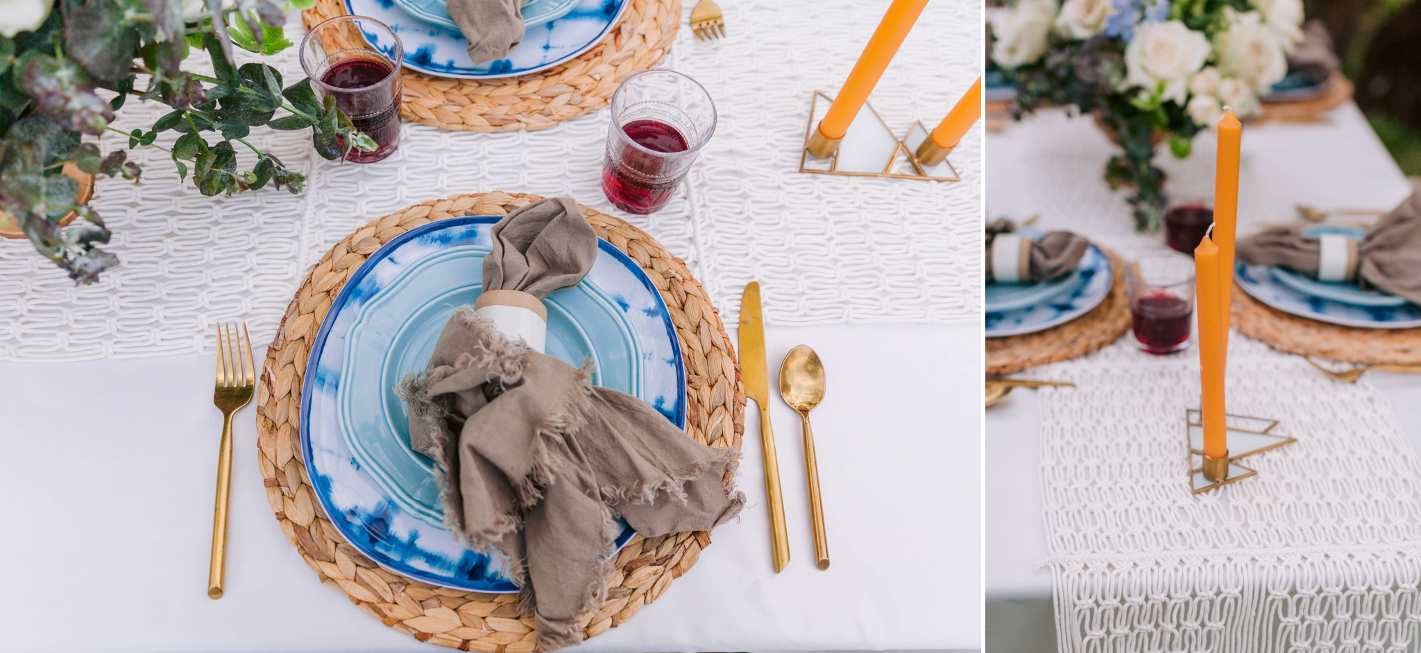 Table set up with gold flatware and blue plates - Ana + Elijah - Wedding at Loulu Palm in Haleiwa, HI - Oahu Hawaii Wedding Photographer