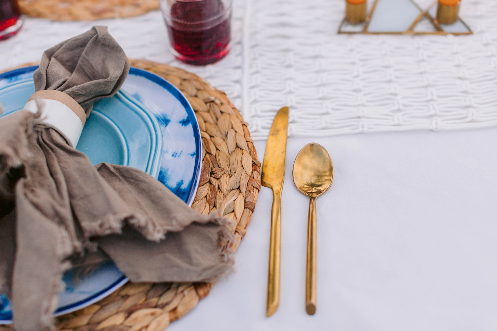 Reception table scape with blue plates and gold flatware - Ana + Elijah - Wedding at Loulu Palm in Haleiwa, HI - Oahu Hawaii Wedding Photographer