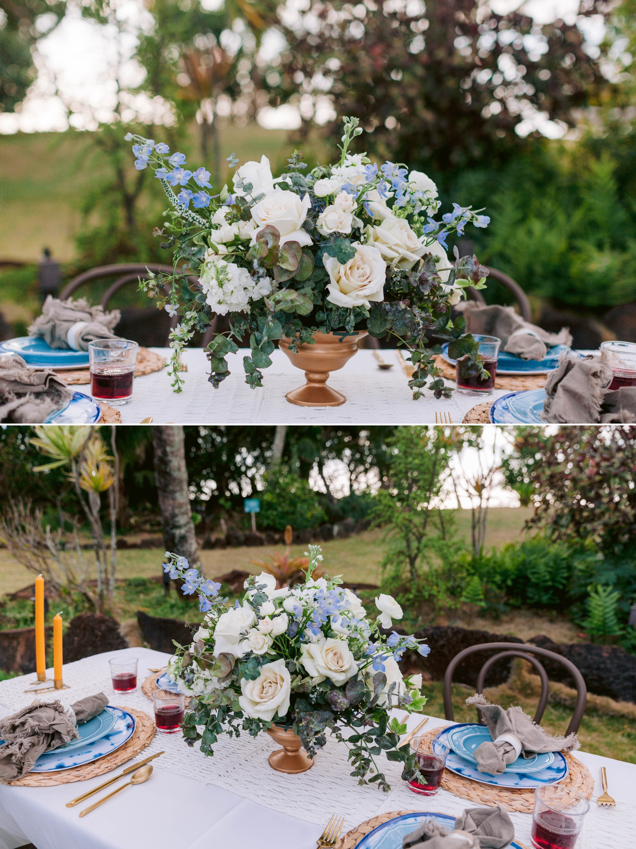 Large Flower Centerpiece with blue, gold and green accents - Ana + Elijah - Wedding at Loulu Palm in Haleiwa, HI - Oahu Hawaii Wedding Photographer