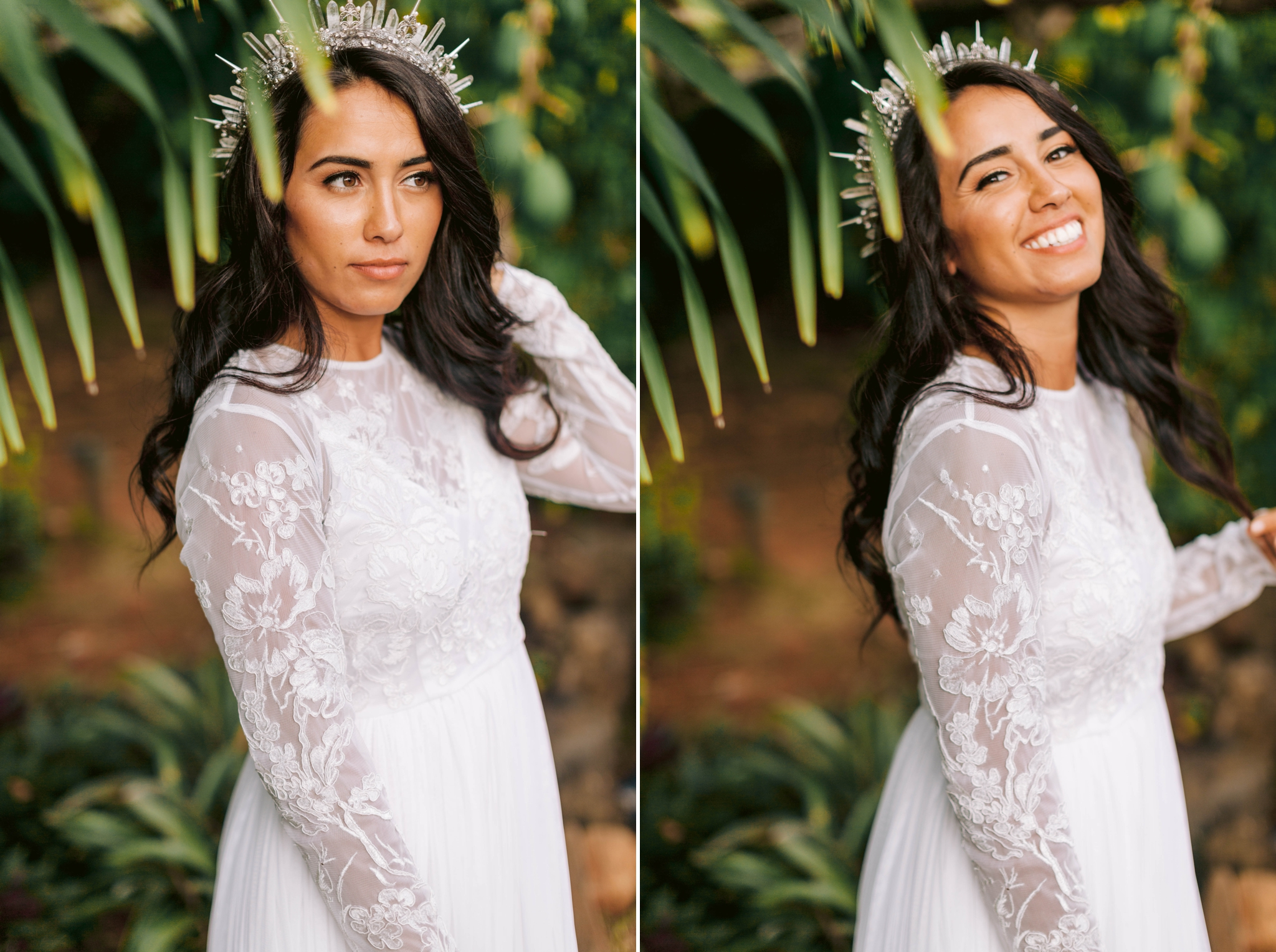 Hawaiian Bridal Portraits - Bride is wearing a wedding dress by asos and a unique crown under palm trees - Ana + Elijah - Wedding at Loulu Palm in Haleiwa, HI - Oahu Hawaii Wedding Photographer